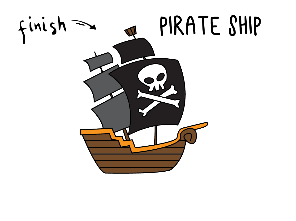 How To Draw a Pirate Ship (Easy, Simple Step By Step for Kids)