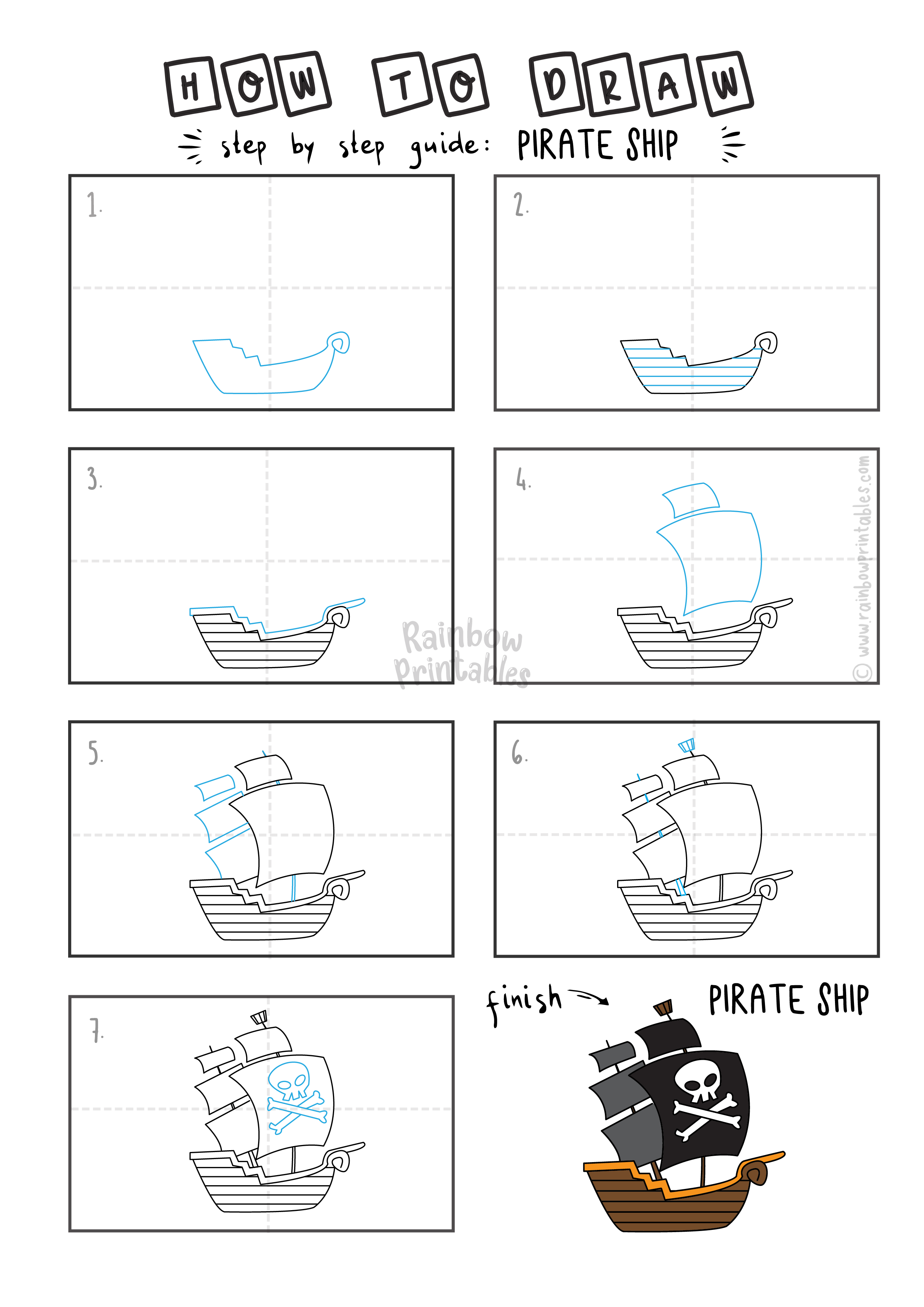 How To Draw a PIRATE SHIP BOAT HISTORY Step By Step Easy Simple Drawing Guide for Kids