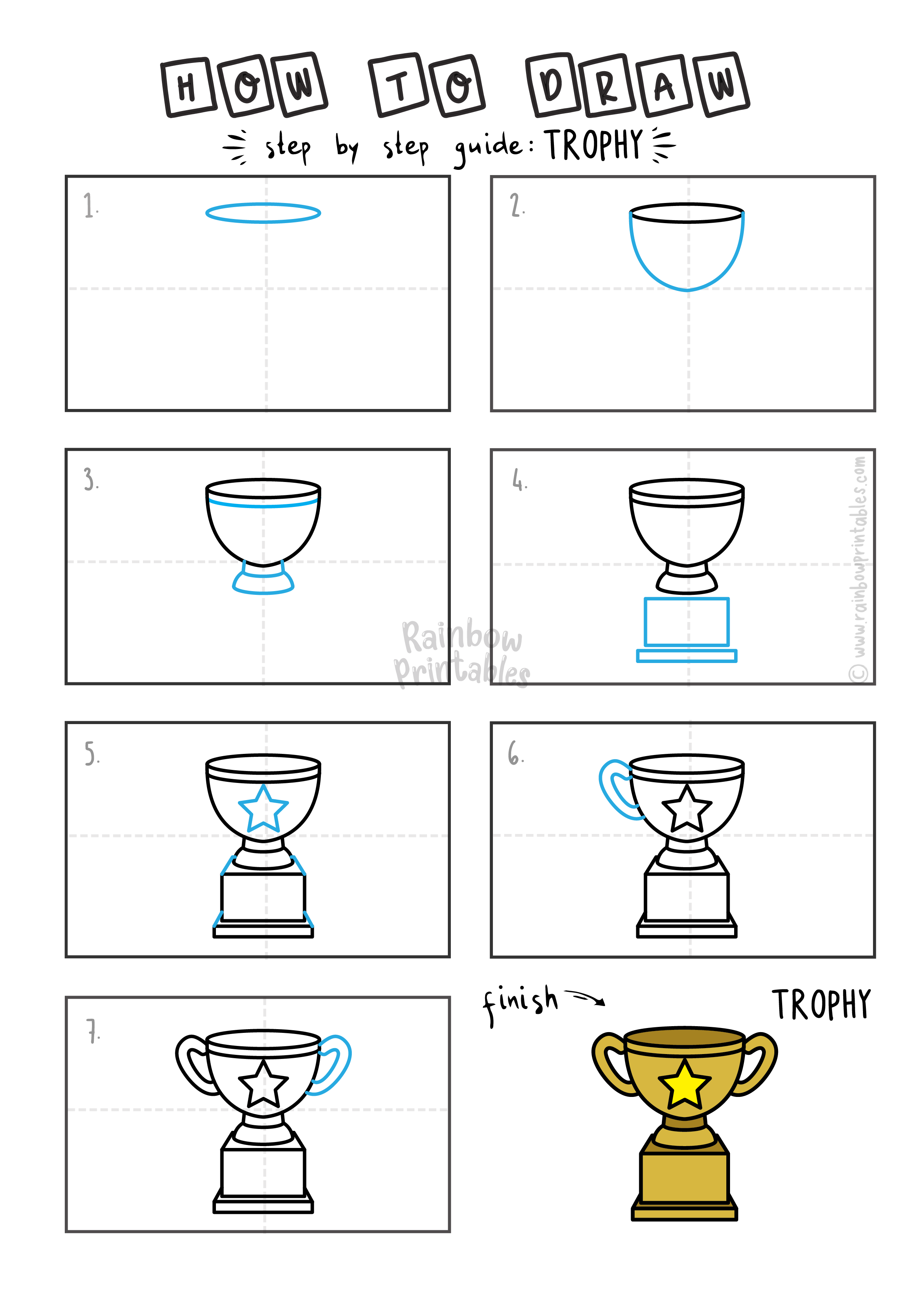 How To Draw a WINNERS TROPHY Step By Step Easy Simple Drawing Guide for Kids