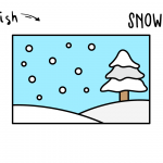 How To Draw a Cartoon Wintery Snow Scene (Art Drawing Tutorial For Kids)