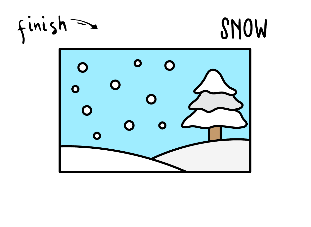 How To Draw a WINTER SNOW SNOWFLAKE SCENE LANDSCAPE Step By Step Easy Simple Drawing Guide for Kids FINAL