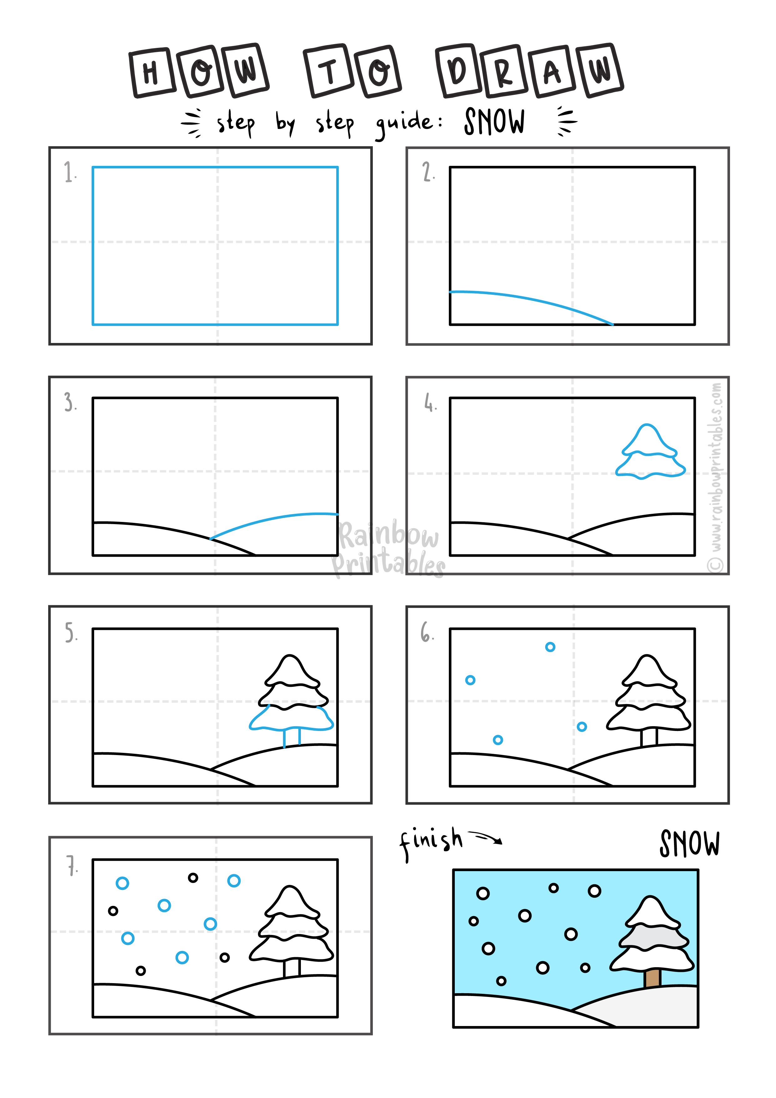 How To Draw a WINTER SNOW SNOWFLAKE SCENE LANDSCAPE Step By Step Easy Simple Drawing Guide for Kids