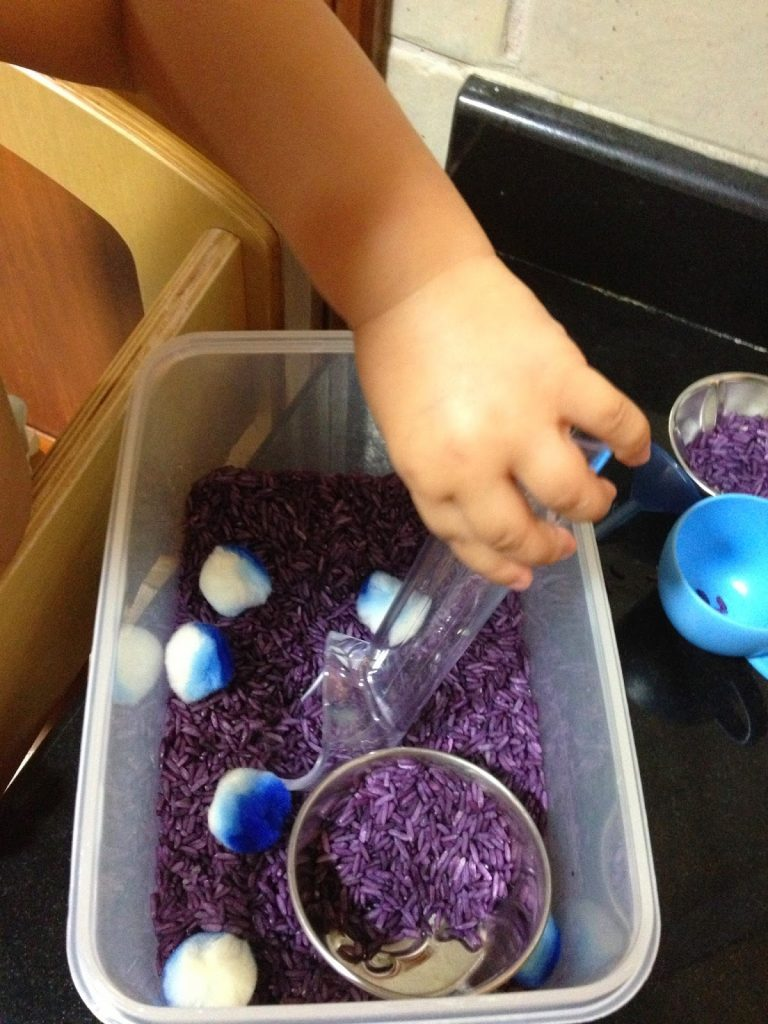 lavender rice sensory play