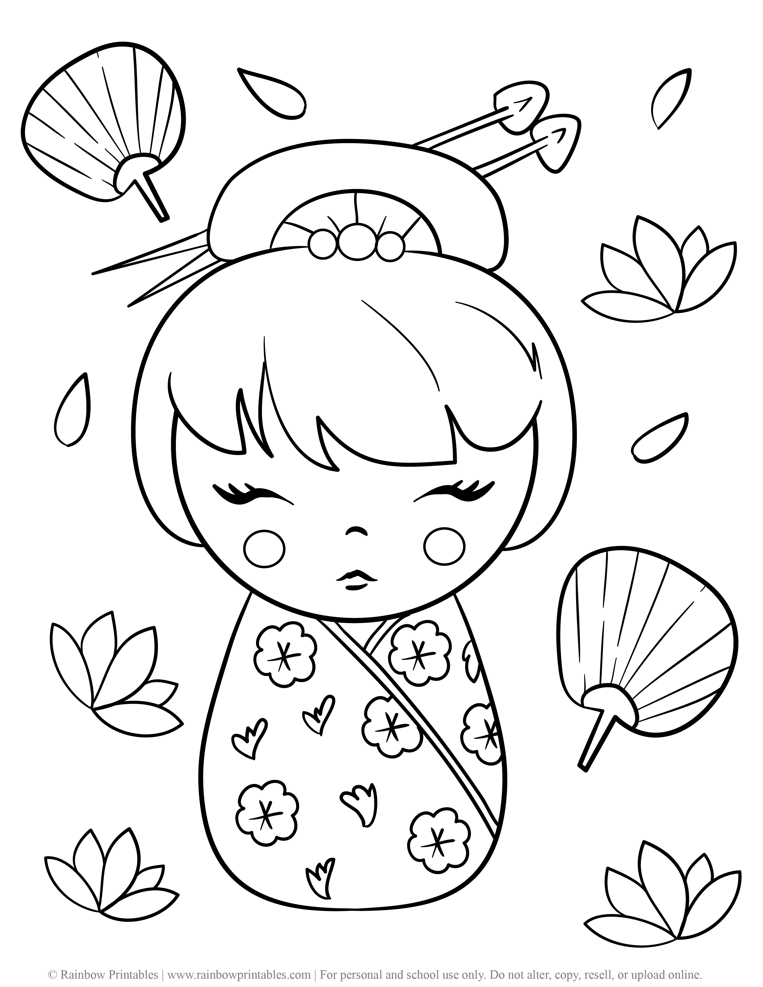 KIMMIDOLL JApanese Wooden Doll CUte Asian Toy Coloring Pages for Kids Fan