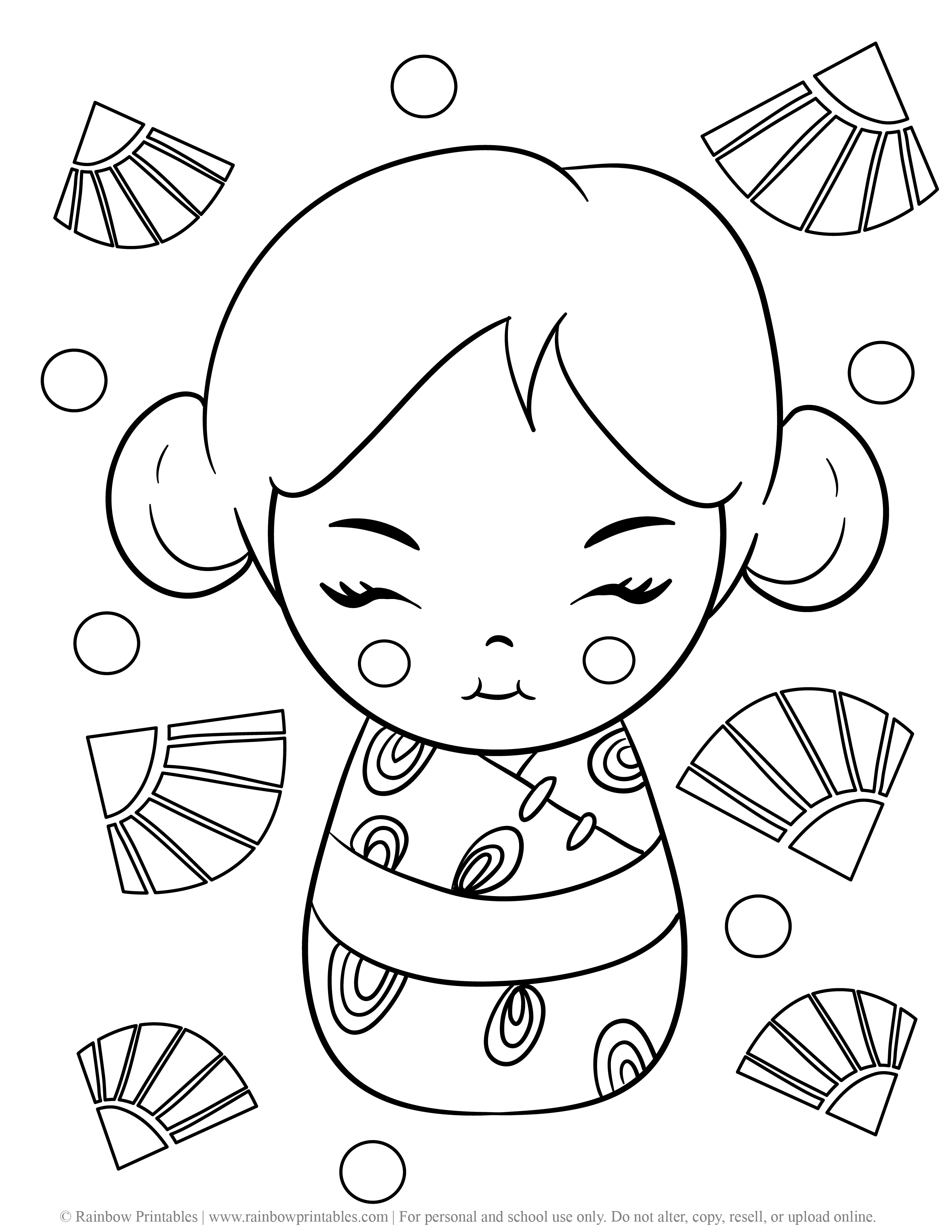 KIMMIDOLL JApanese Wooden Doll CUte Asian Toy Coloring Pages for Kids