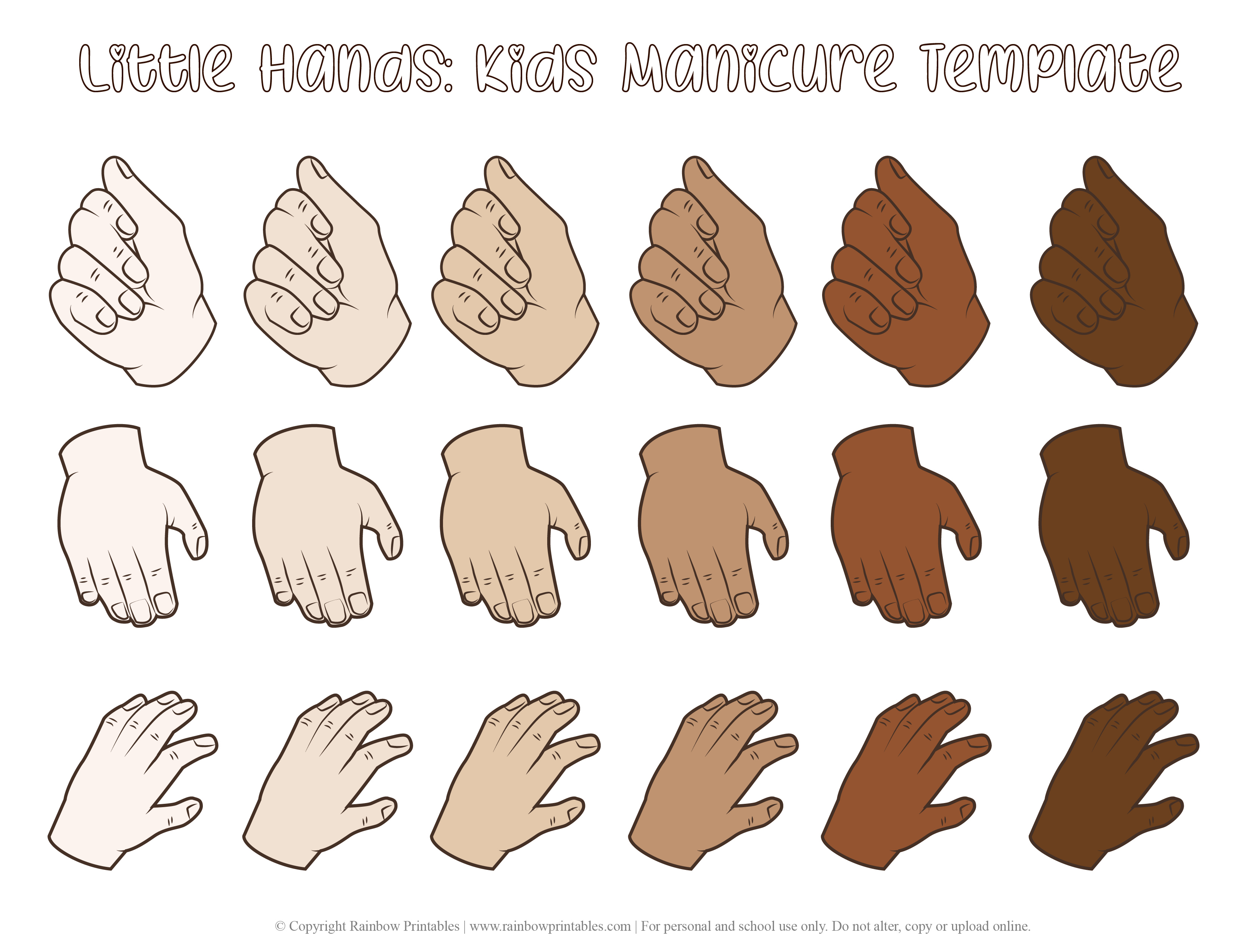 Little Kids Manicure Template Hands Nail Polish Beauty Figurine Makeup Nail Design Pedicure Colored Line Drawing Illustration SKIN TONE