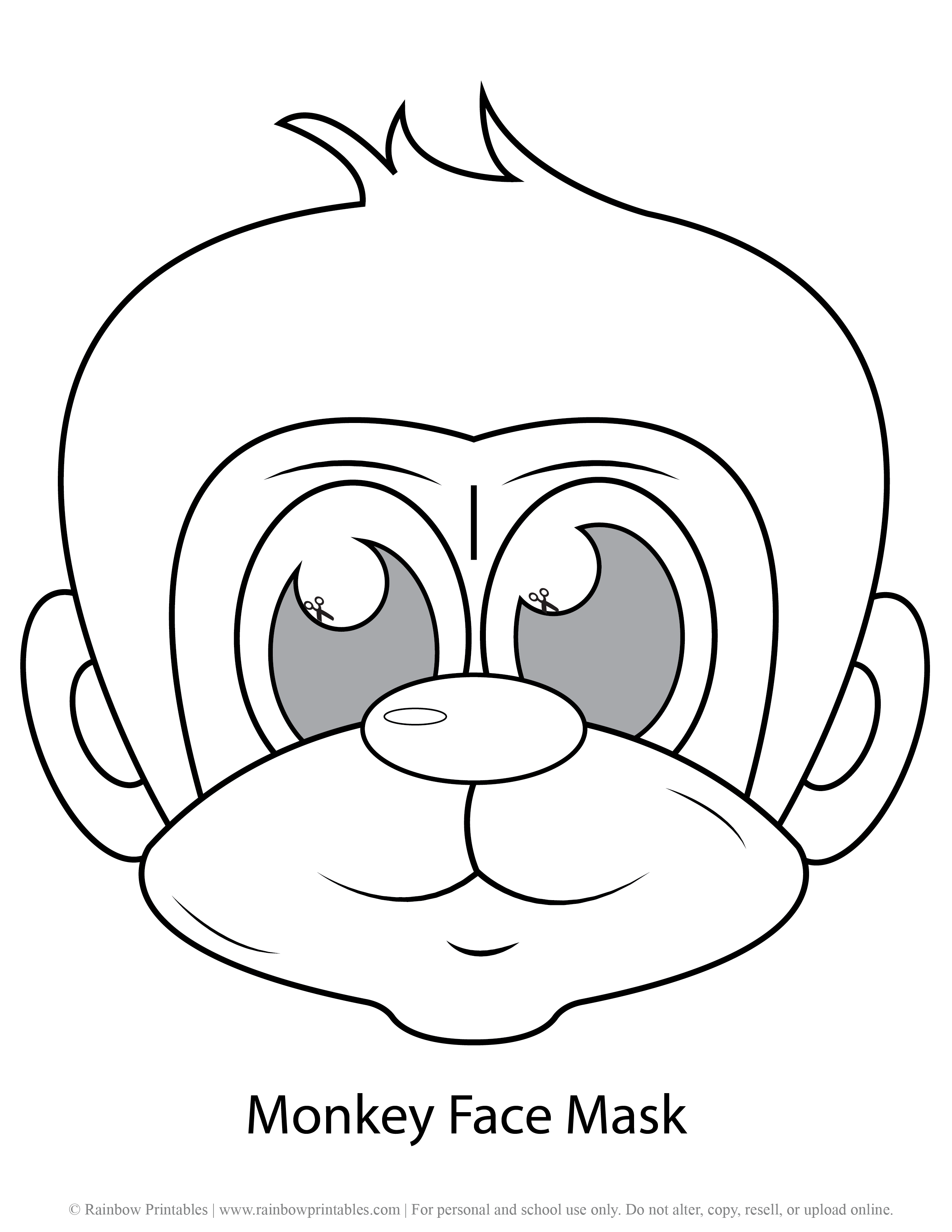 Monkey Face Mask Template for Kids Printable Pretend Play Imagination Animal Free Arts Crafts Activities Learning Ape Chimp