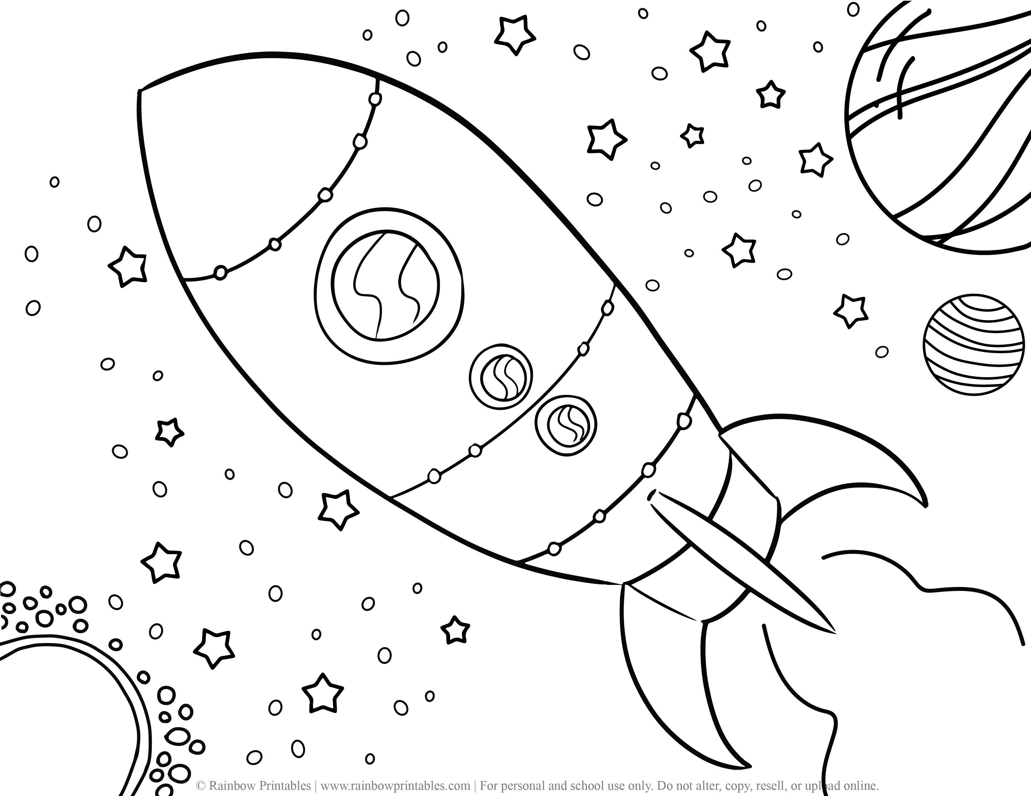 Rocket Ship Doodle Space Galaxy Planets Outerspace Coloring Page
