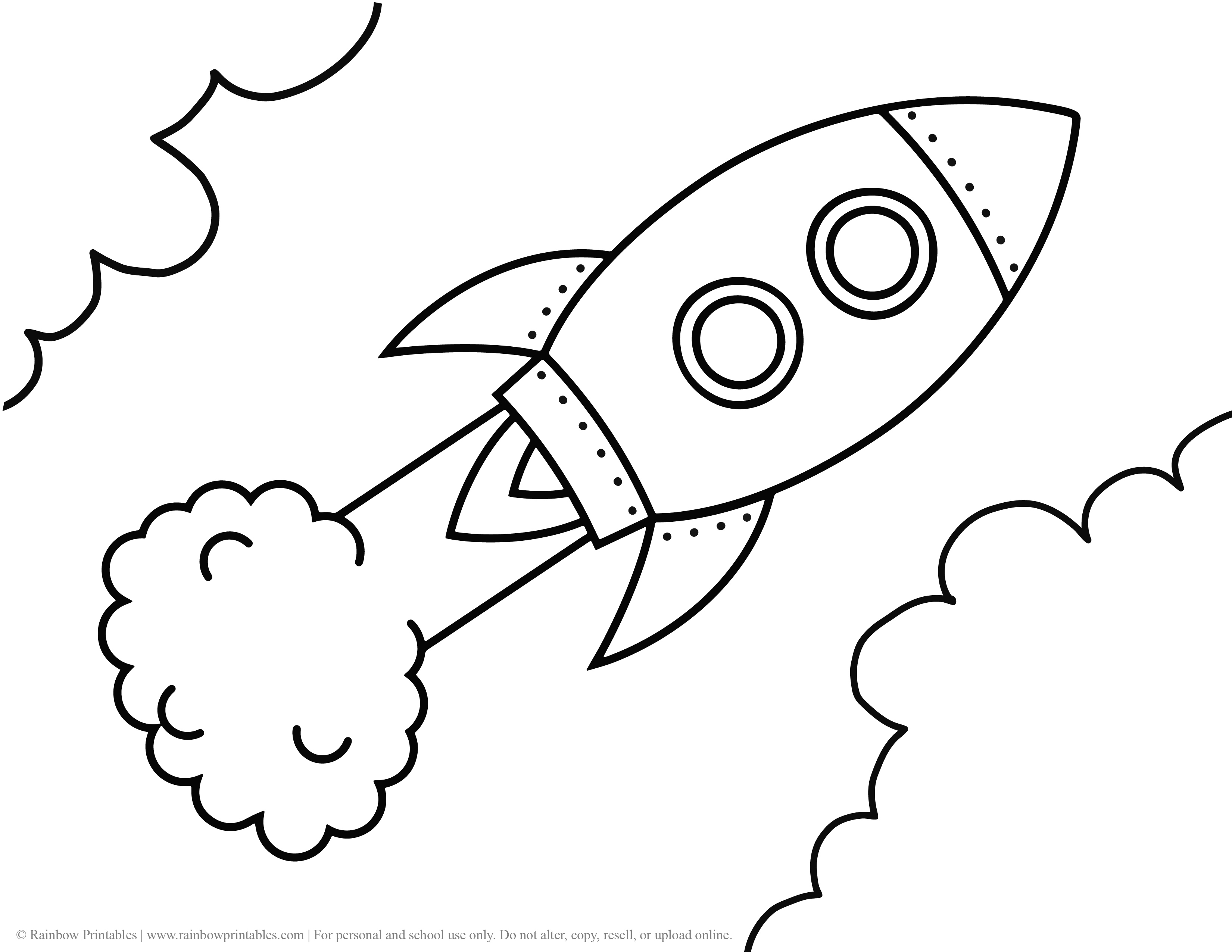 Rocketship Ship Space Meteor Launch Rocket Coloring Page for Kids