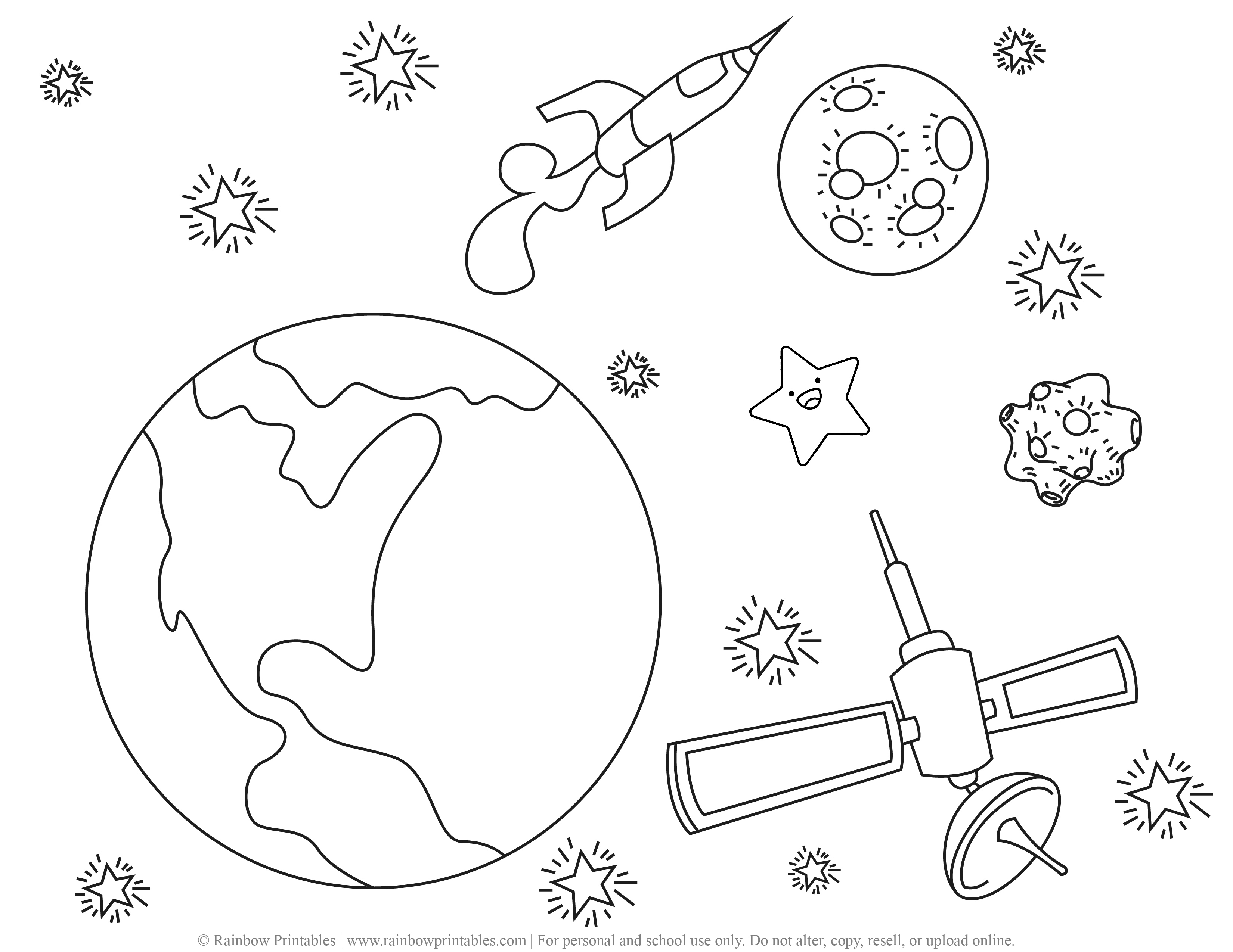 Rocket ship Space Galaxy Planet Outer space Astronaut EARTH ROCK Coloring Page Satellite Meteor
