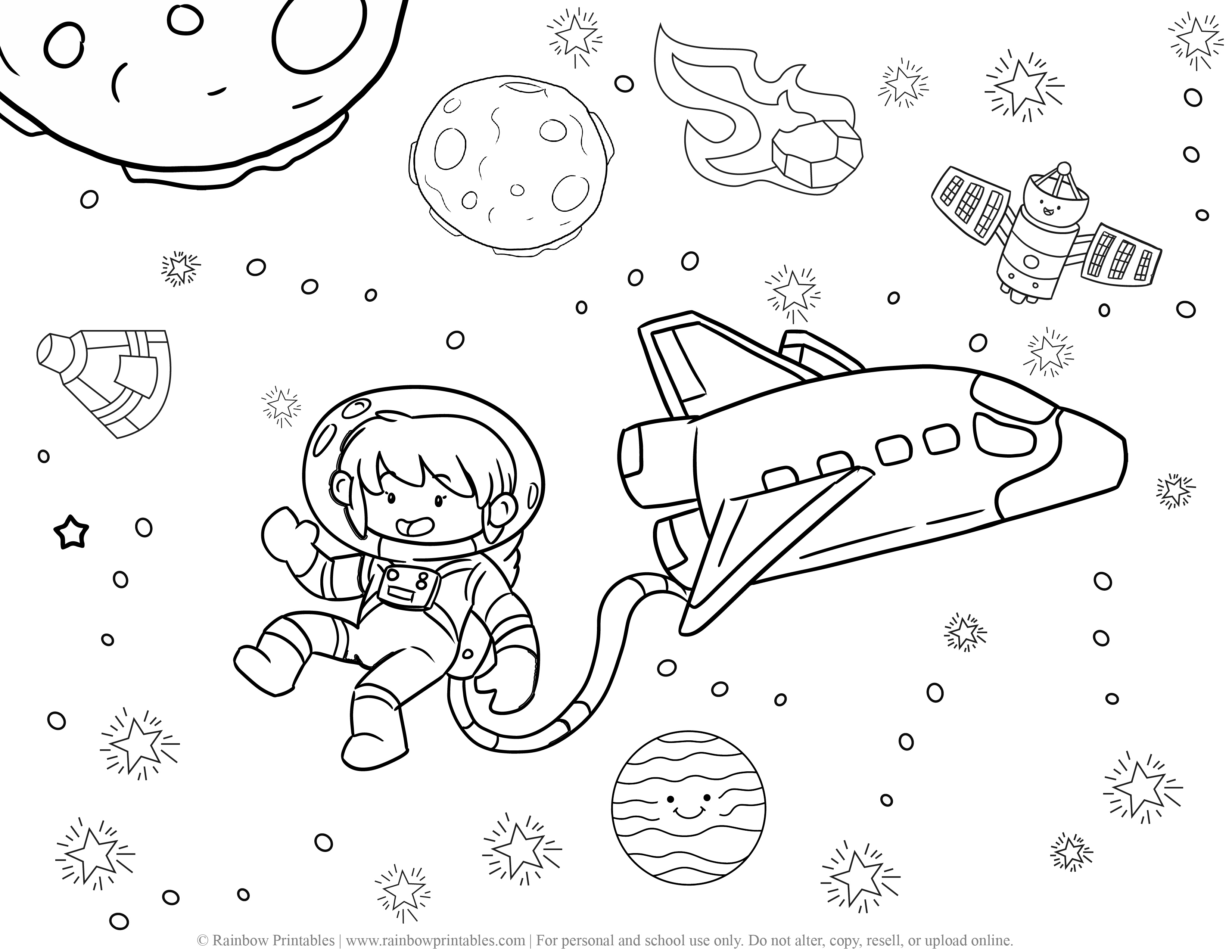 Rocket ship Space Galaxy Planet Outer space Astronaut Moon Coloring Page Satellite Meteor