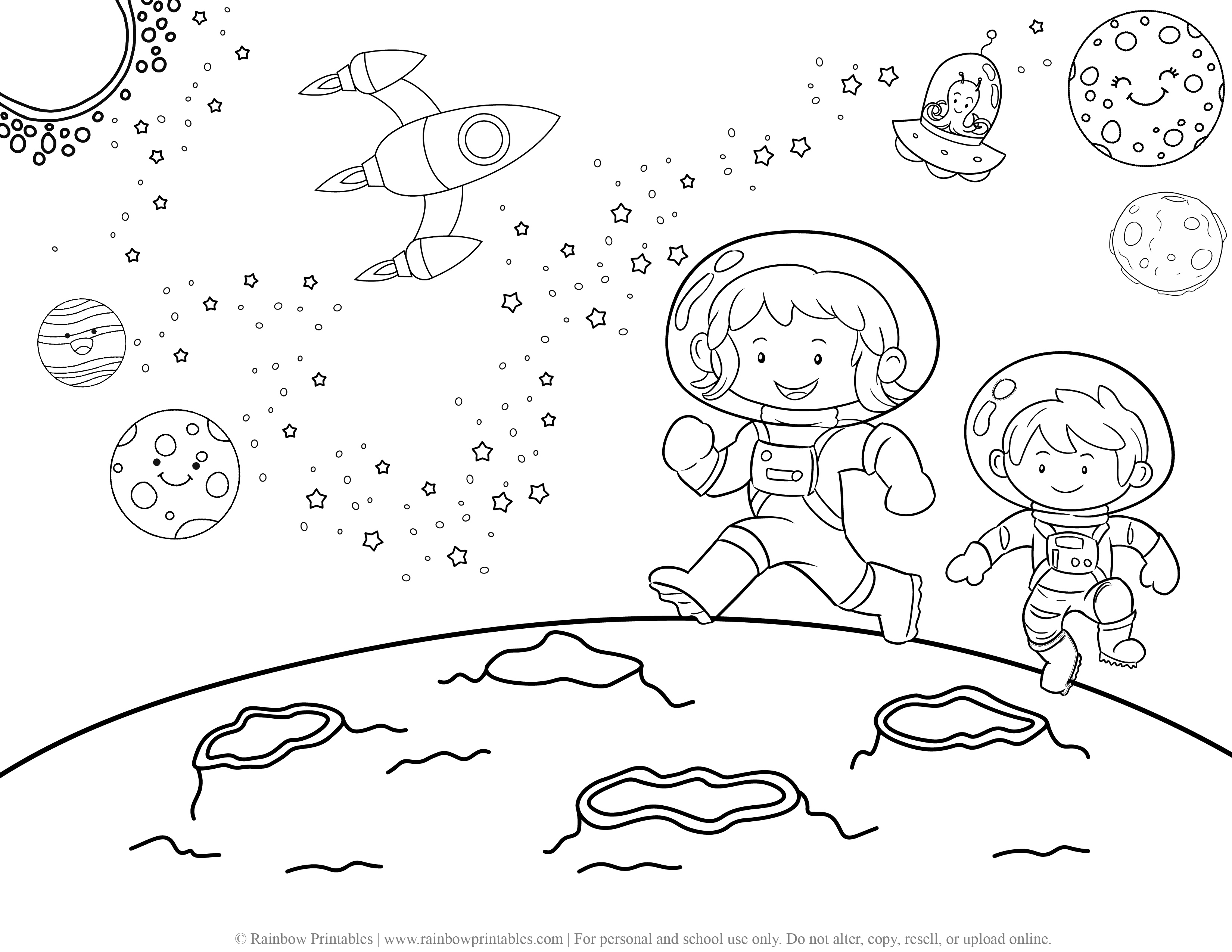 Rocketship Space Galaxy Planet Outerspace Astronaut Moon Coloring Page