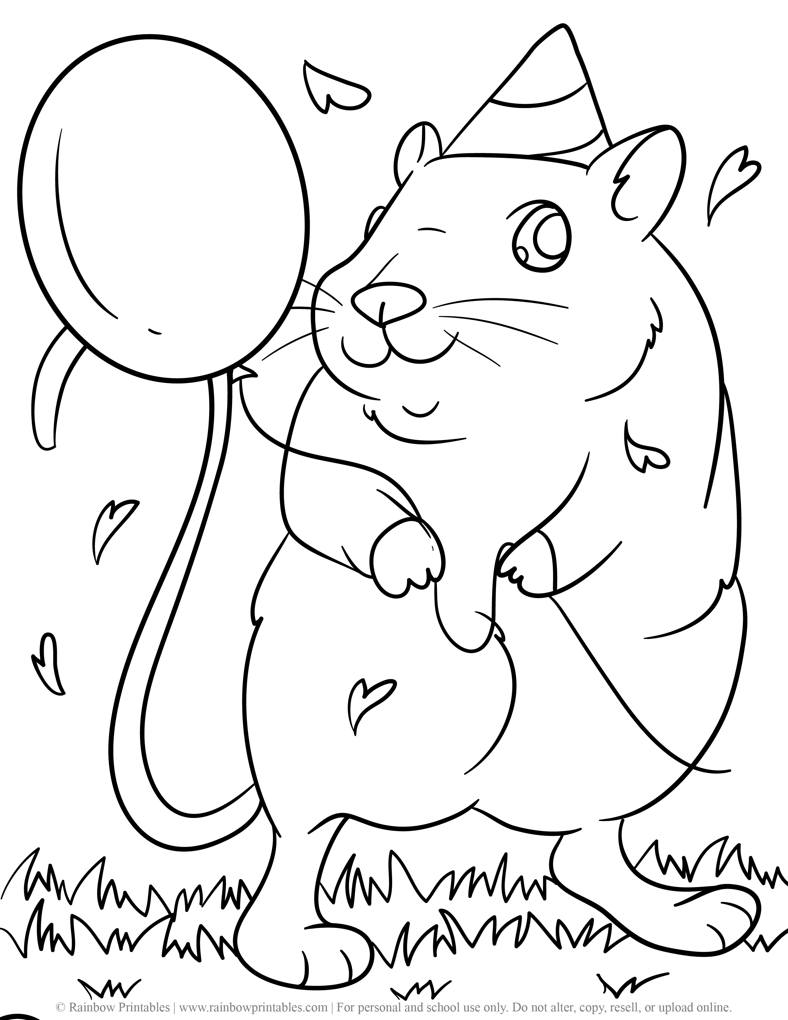 Rodent Rat Mice Hamster Guinea Pig Coloring Page for Kids Pets Birthday Holding Balloon Celebration