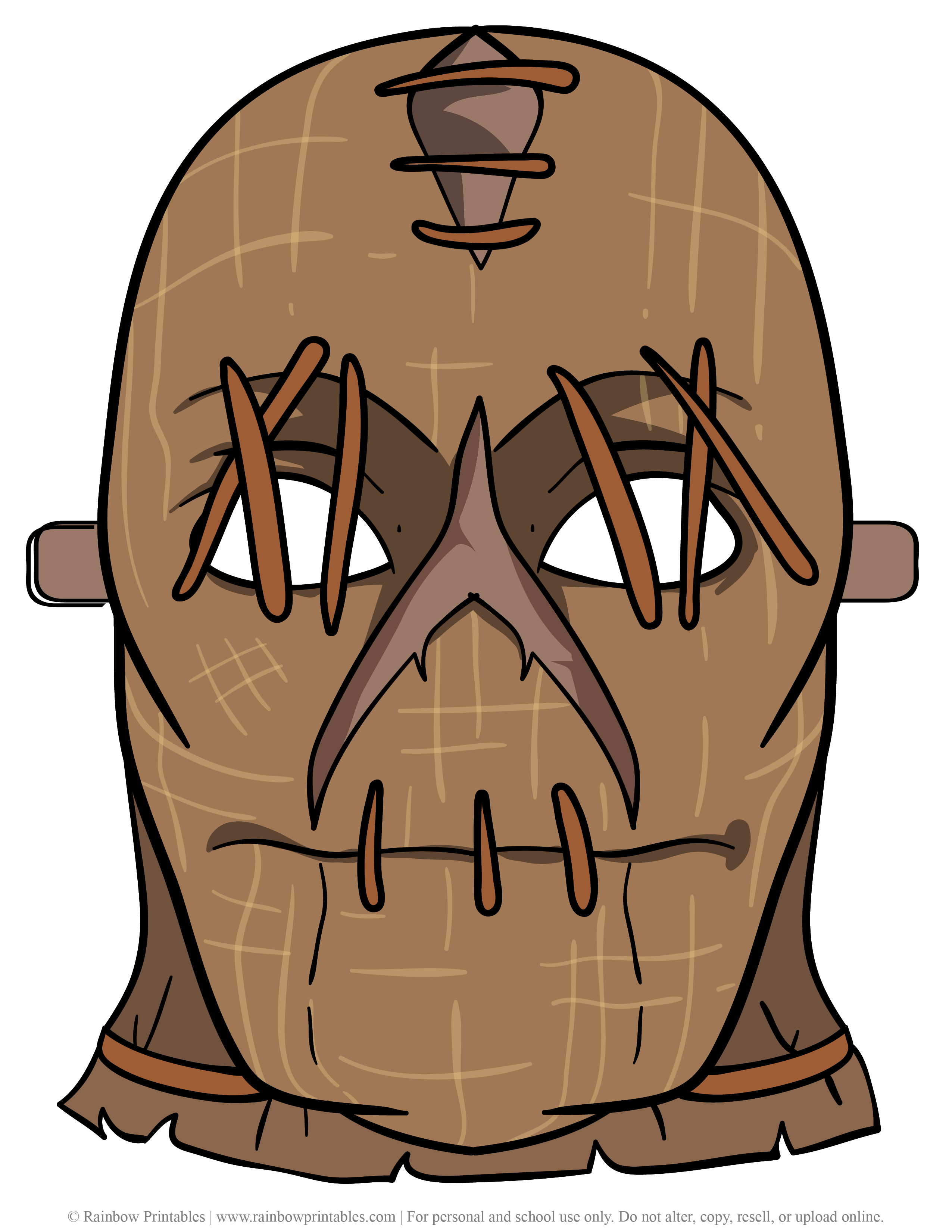 Scary Creepy Halloween Scarecrow Costume Face Mask Theater Head Covering robber ski mask Burqa Burlap Sack Sew Stitched Nightmare-02