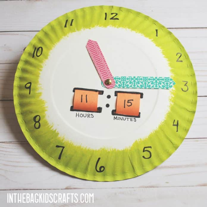 simple paper plate tell time craft