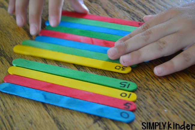 Skip counting with popsicle sticks