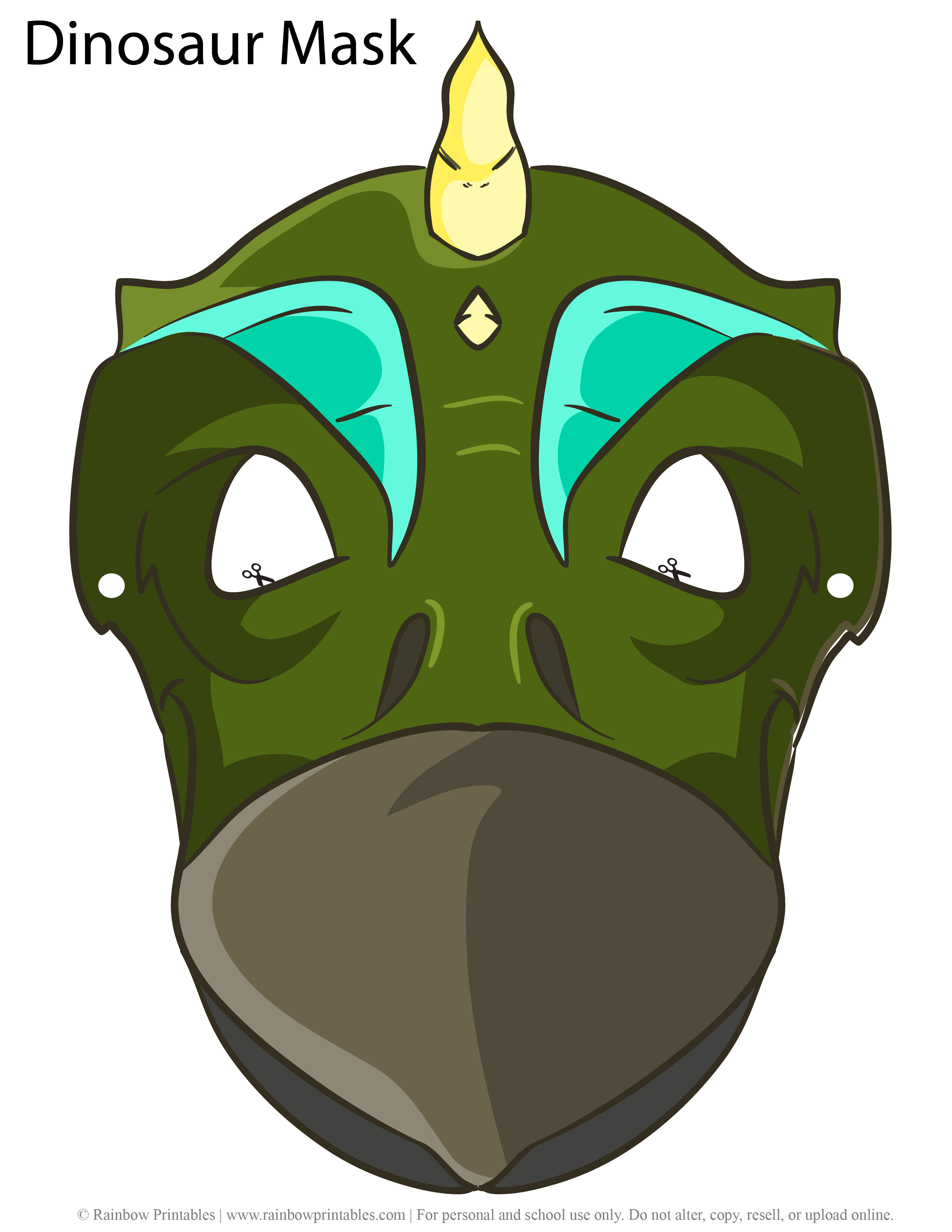 Stegosaurus Face Masks for Kids Costume Pretend Play Paper Printable Dinosaur Dino Colored Mask Character
