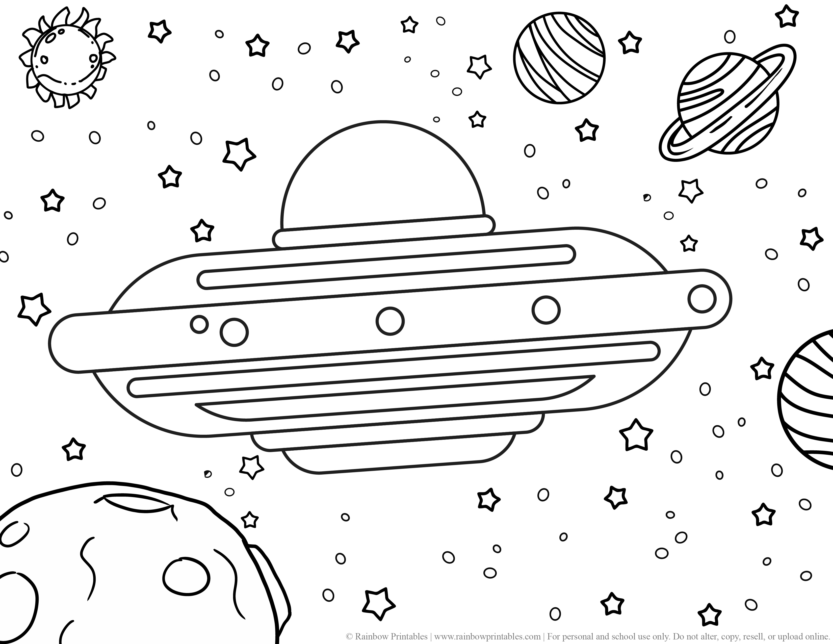 UFO Alien Planets Stars Sun Space GALAXY OUTERSPACE MOON Coloring Pages