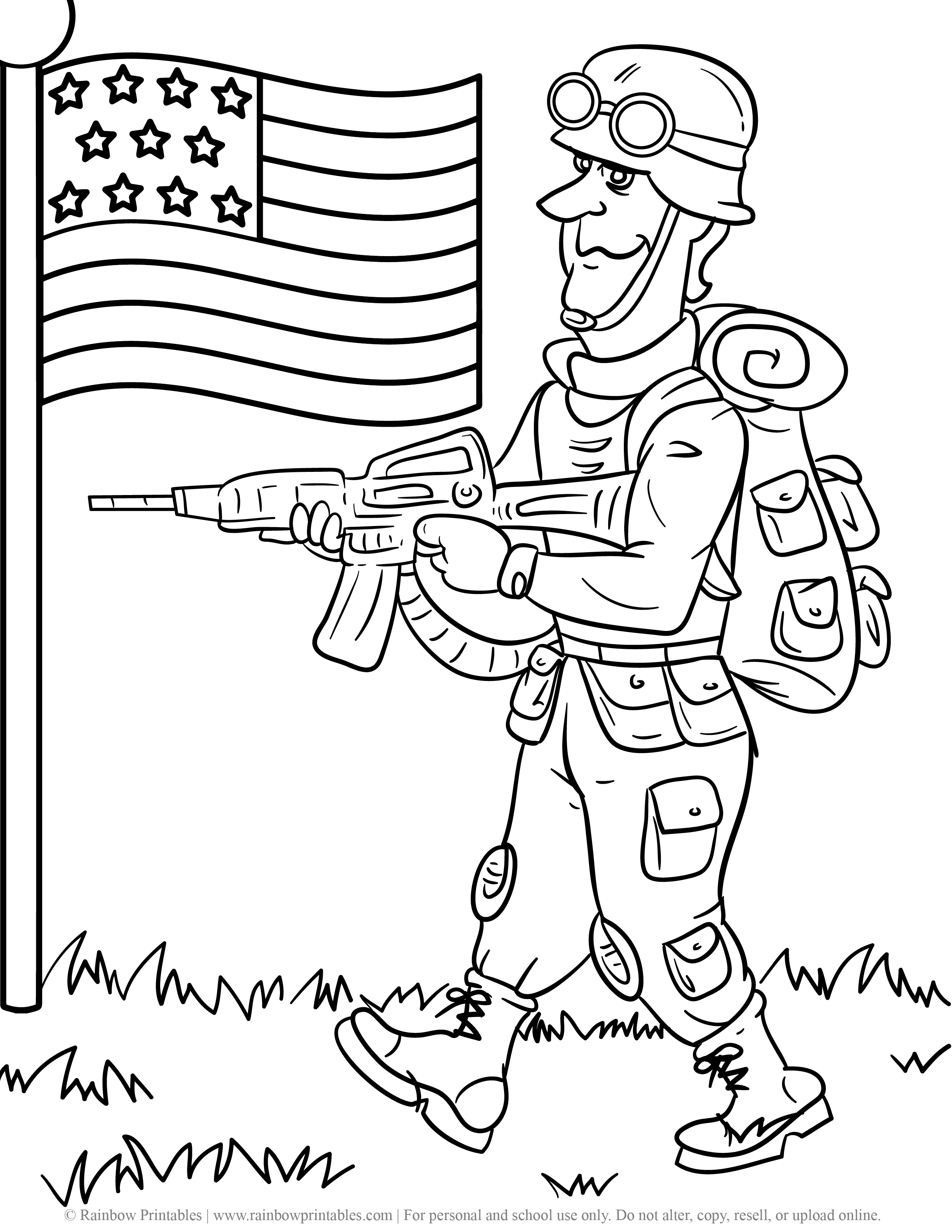 US American Soldier Army Gun Duty Navy Coloring Pages For Kids Patriotic July 4th Independence Day Simple Easy Printables