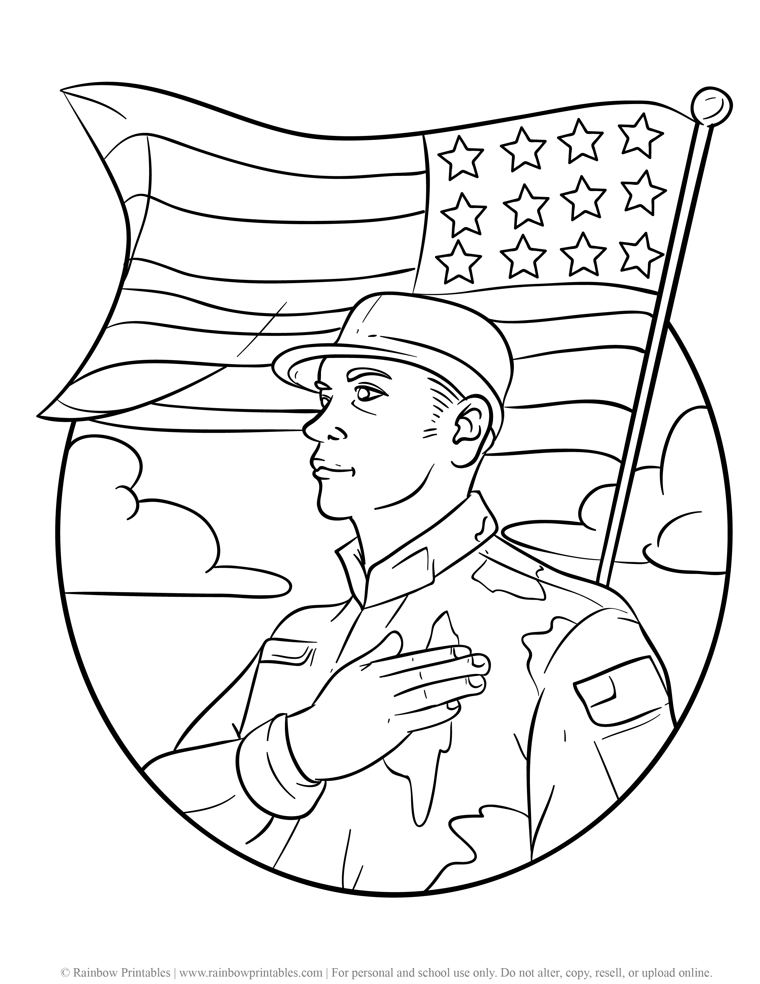 US American Soldier Army Navy Coloring Pages For Kids Patriotic July 4th Independence Day Simple Easy Coloring Printables (2)