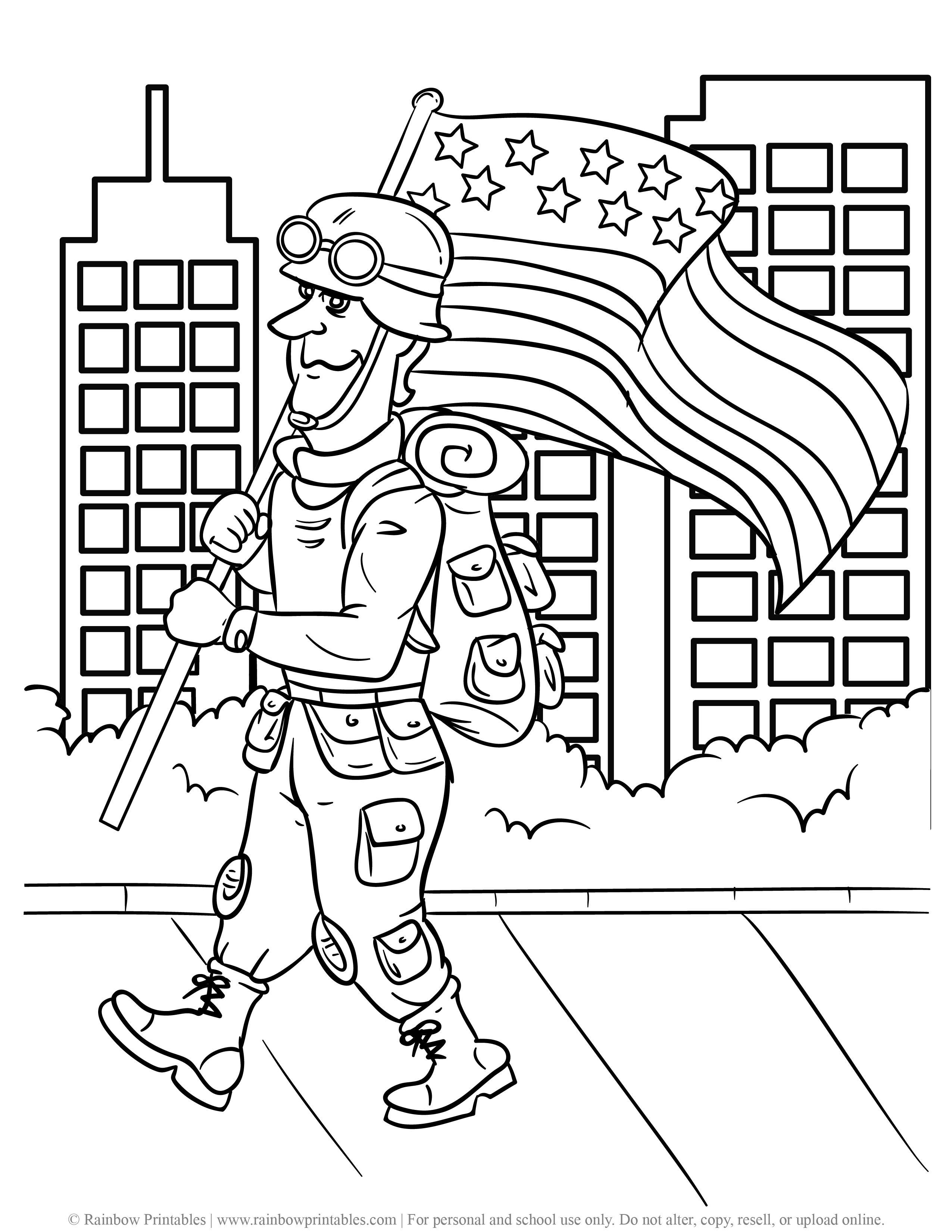 US American Soldier Army Navy Coloring Pages For Kids Patriotic July 4th Independence Day Simple Easy Coloring Printables