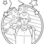 US American Solidier Army Navy Coloring Pages For Kids Patriotic July 4th Independence Day Simple Easy Salute Flag Stars