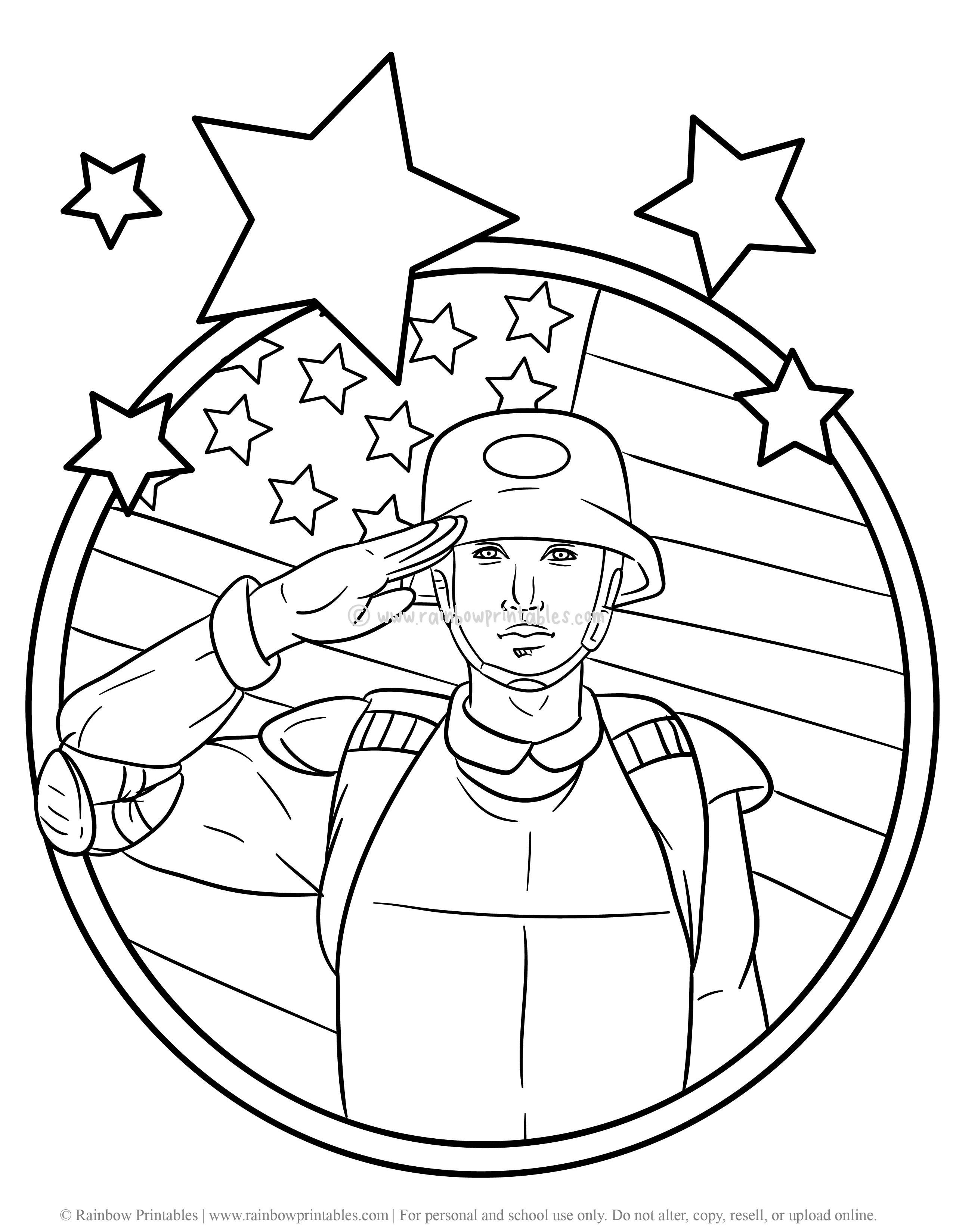 7 Free U.S. Military Army Soldier Coloring Pages for Kids