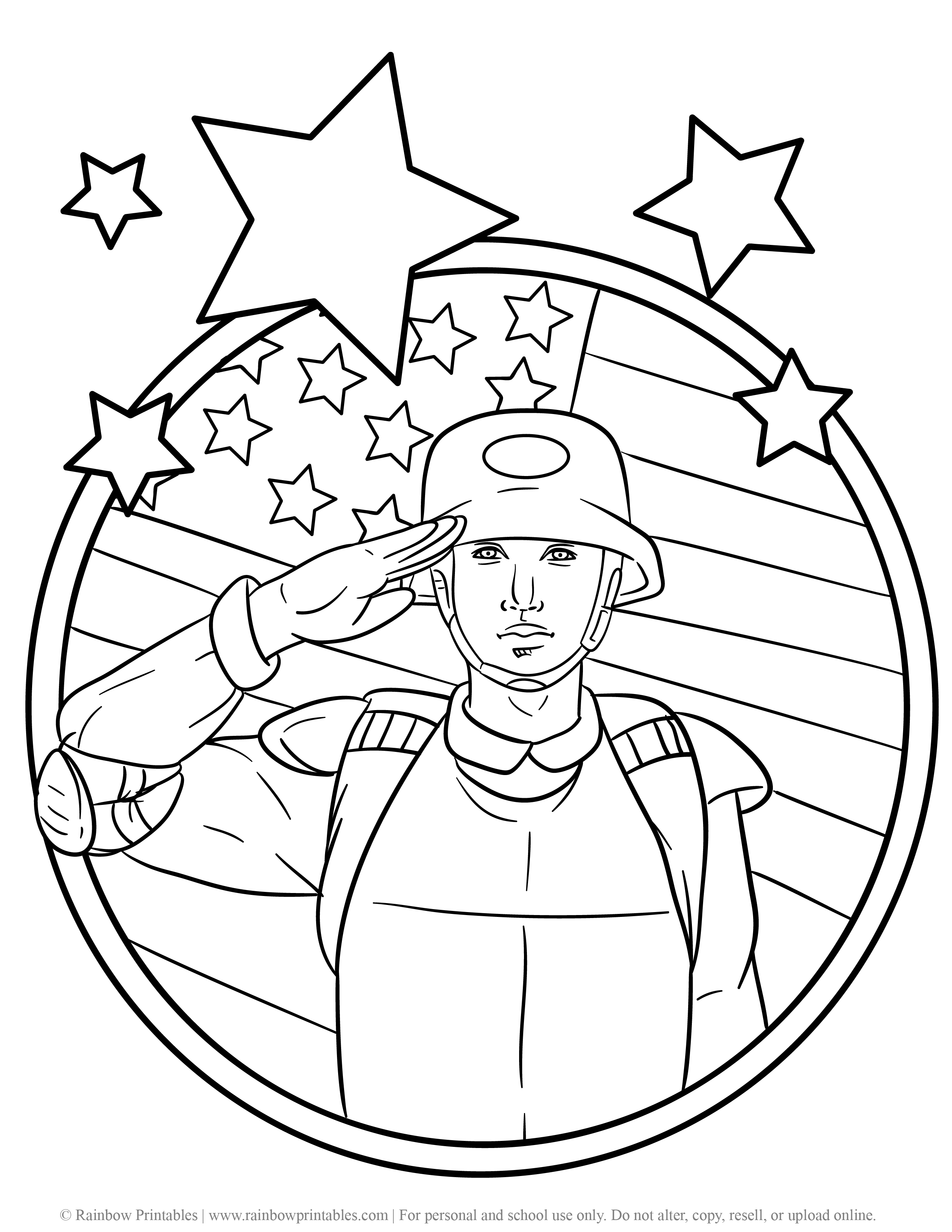 US American Soldier Army Navy Coloring Pages For Kids Patriotic July 4th Independence Day Simple Easy Salute Flag Stars