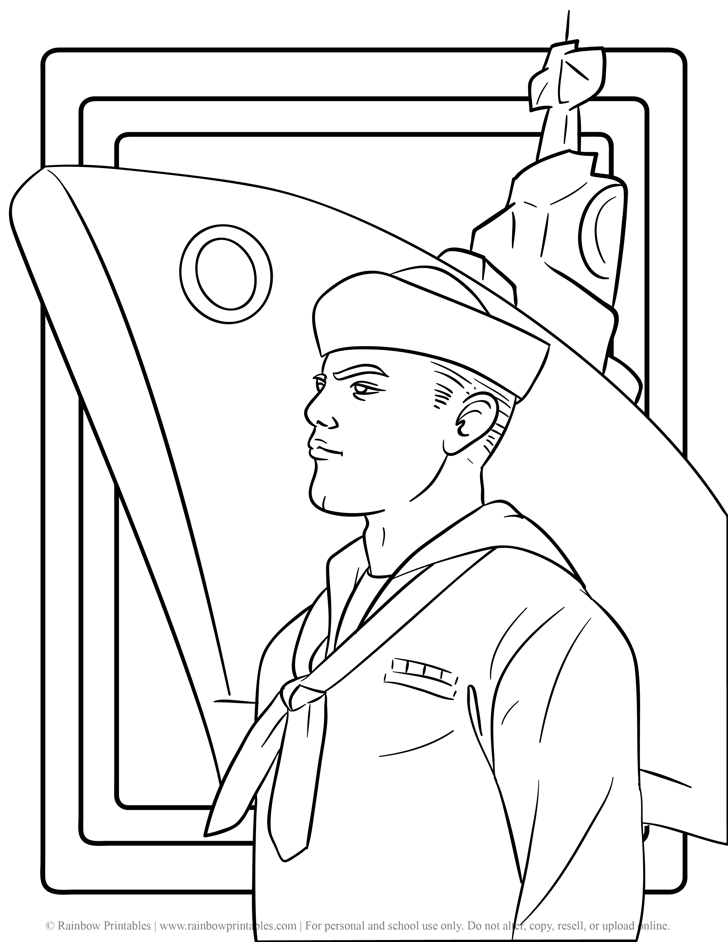 US American Soldier Army Navy Coloring Pages For Kids Patriotic July 4th Independence Day Simple Easy Salute