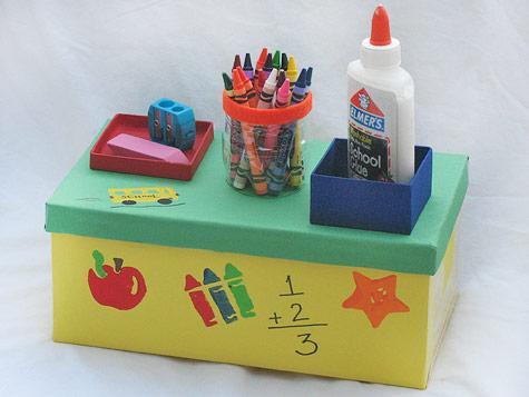 DIY shoebox desktop organizer for school supplies