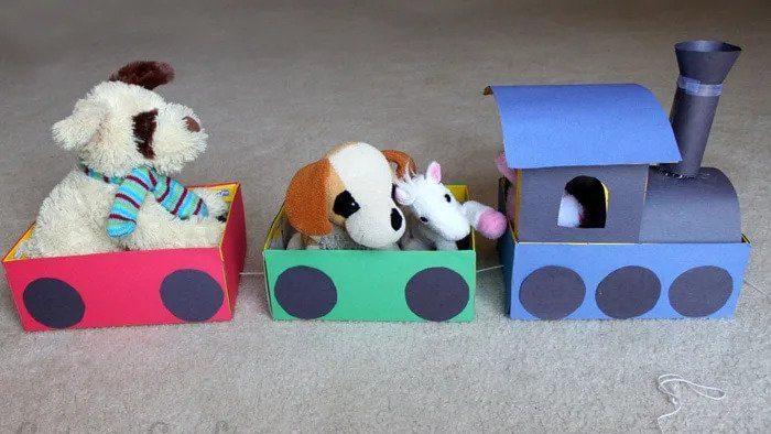 shoebox train car with toys