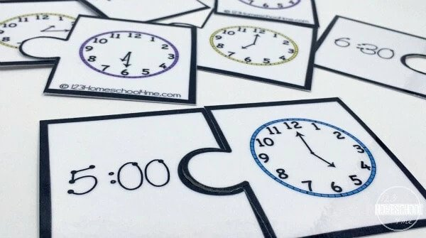 Half-hour telling time puzzles