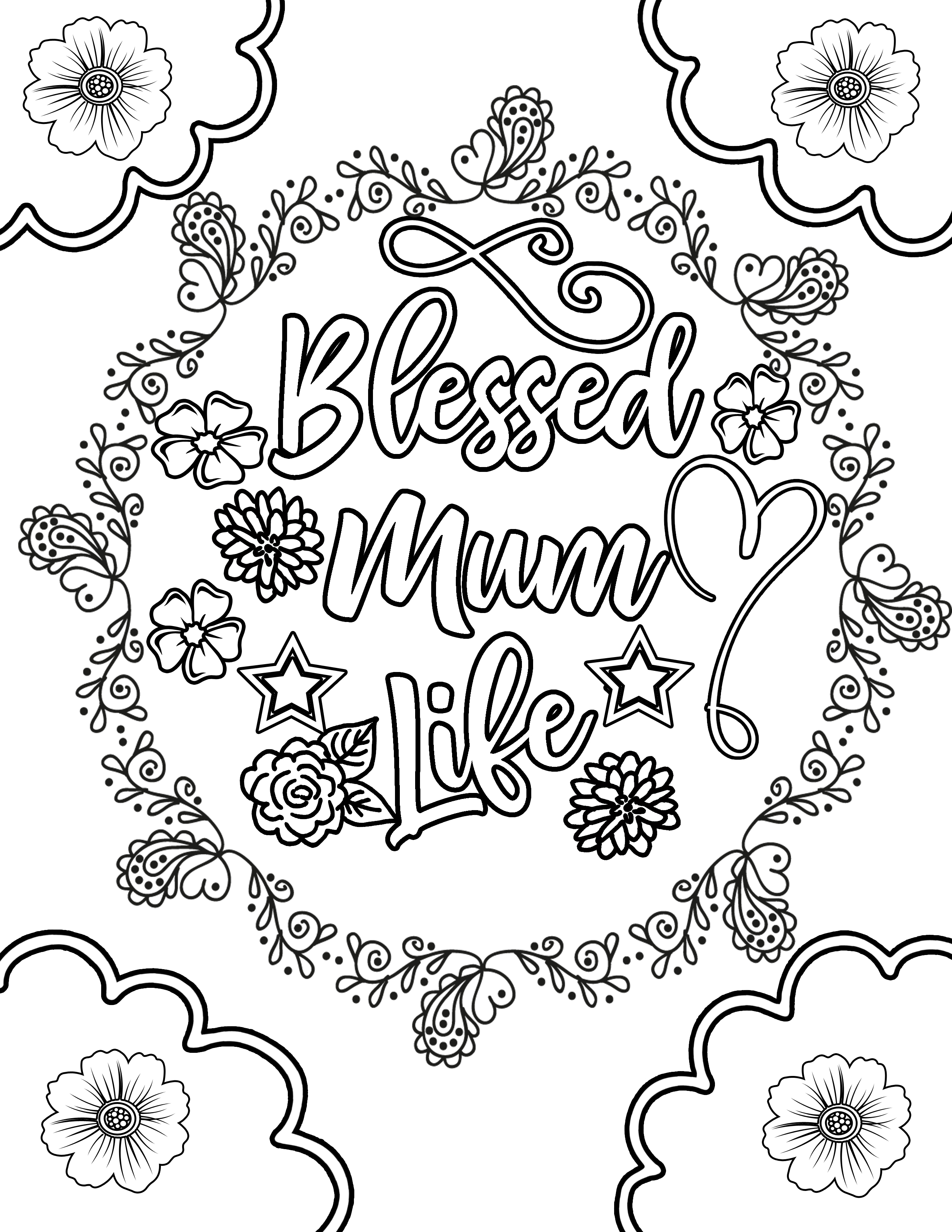 Blessed Mum Life MOTHER'S DAY flower with vines and frills Clipart Coloring Pages for Kids Adults Art Activities Line Art