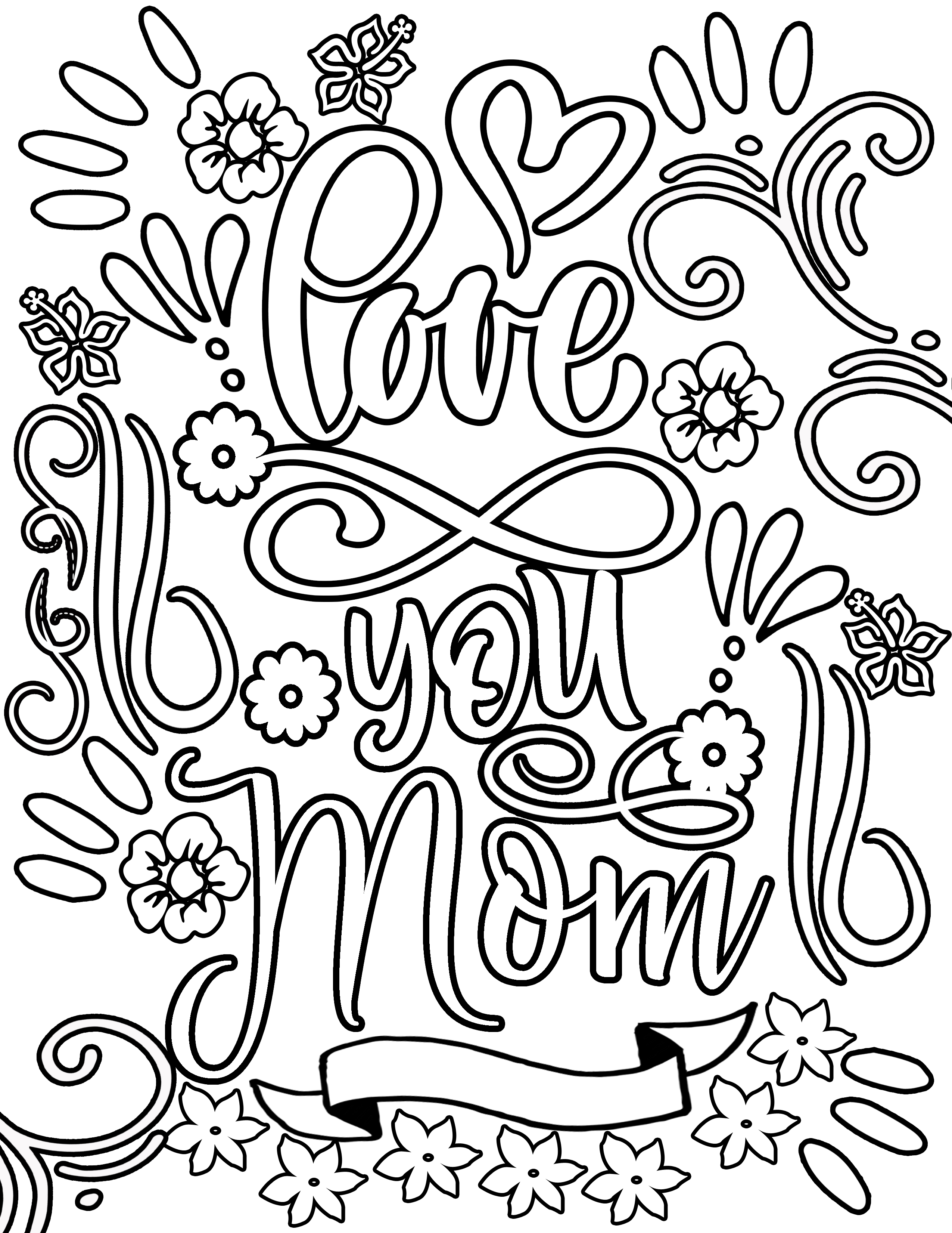 LOVE YOU MOM MOTHER'S DAY flower with vines and frills Clipart Coloring Pages for Kids Adults Art Activities Line Art