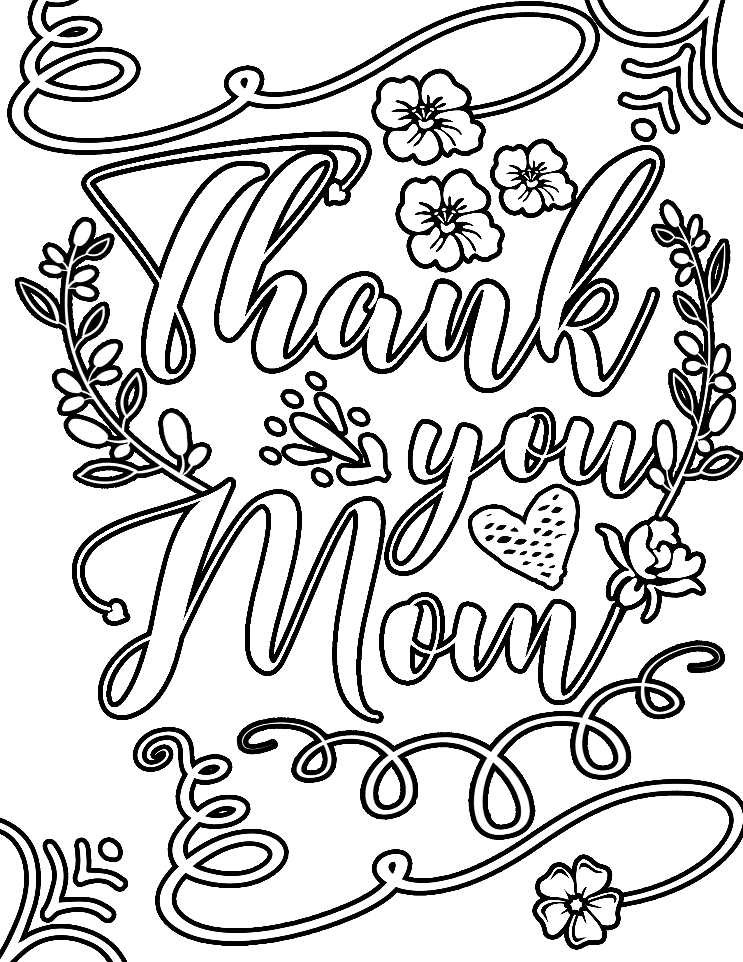 Thank you mom MOTHER'S DAY flower with vines and frills Clipart Coloring Pages for Kids Adults Art Activities Line Art