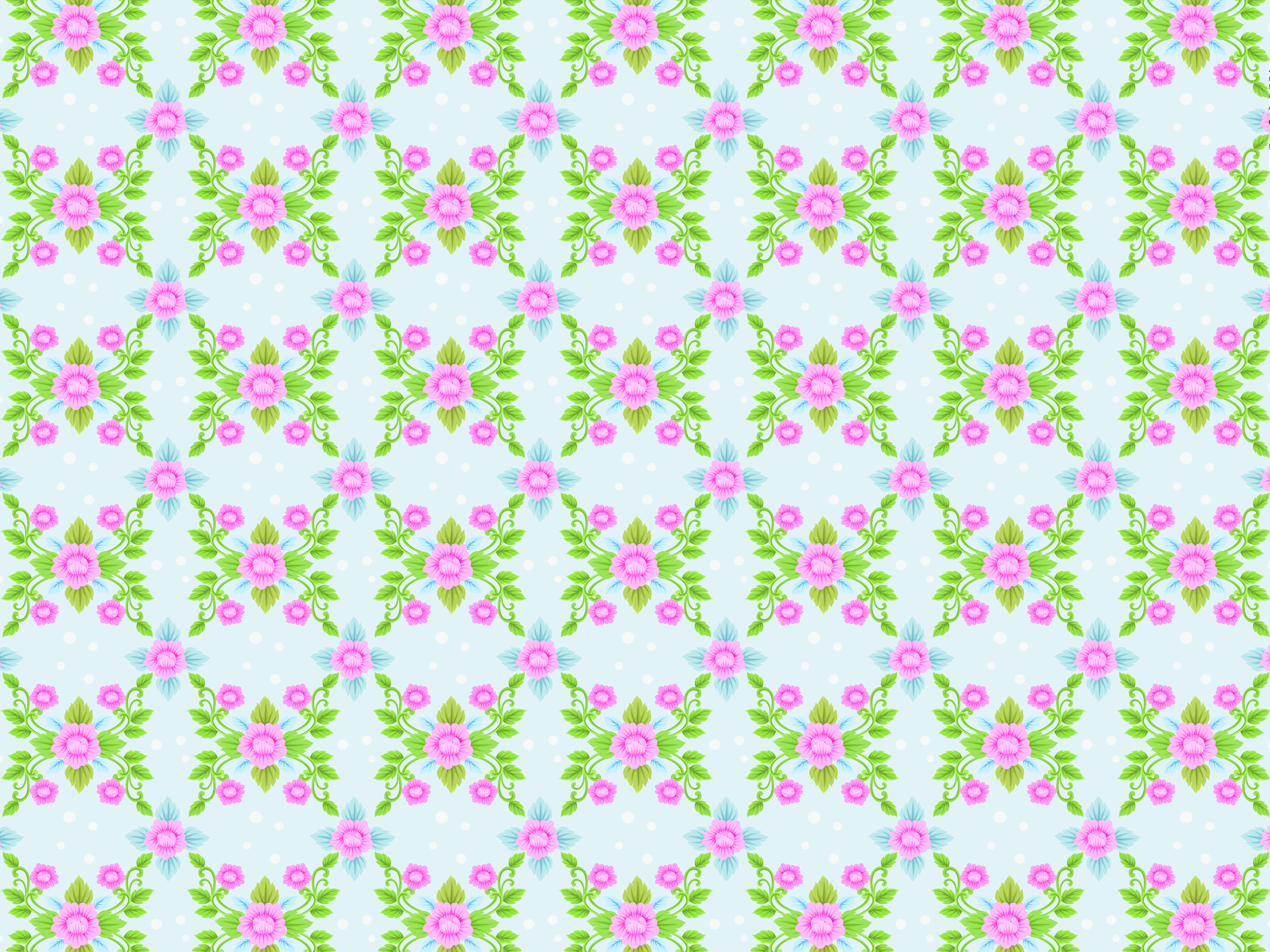 BRIGHT CUTE Blue Pink Flower Pattern 1920s Traditional Vintage Victorian Dollhouse Wallpaper Printable