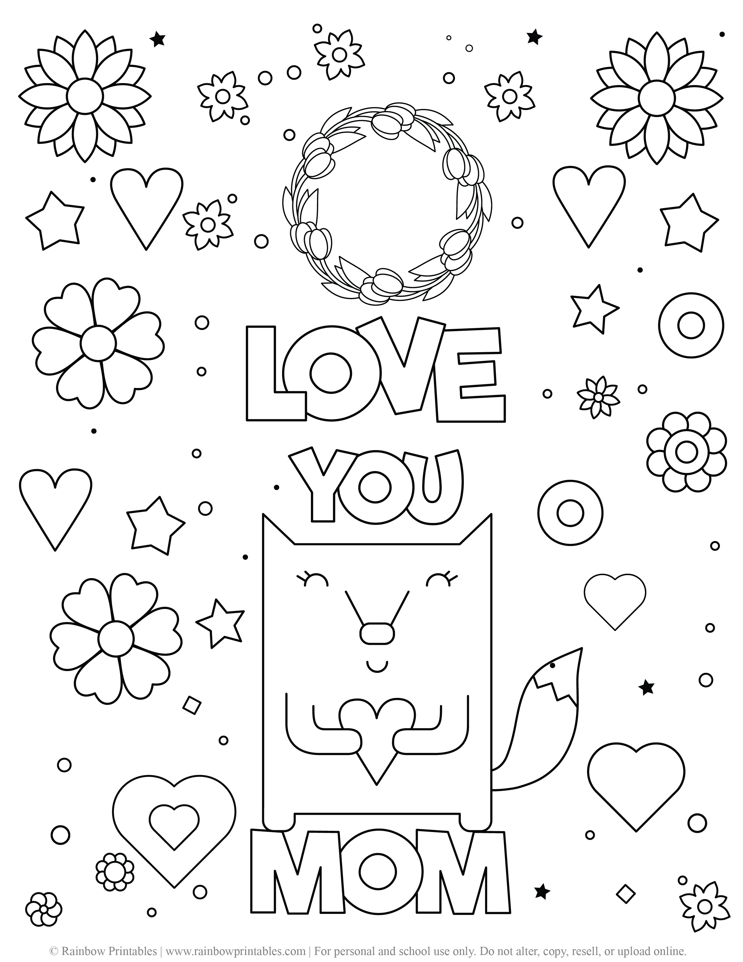 CUTE FOX I LOVE YOU MOM COLORING PAGE FLOWERS SPARKLES FLORAL COLORING PAGE ACTIVITY FOR KIDS LINE ART MOTHER'S DAY Cute Card