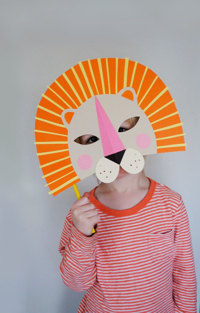 Colorful Roaring Lion Paper Mask