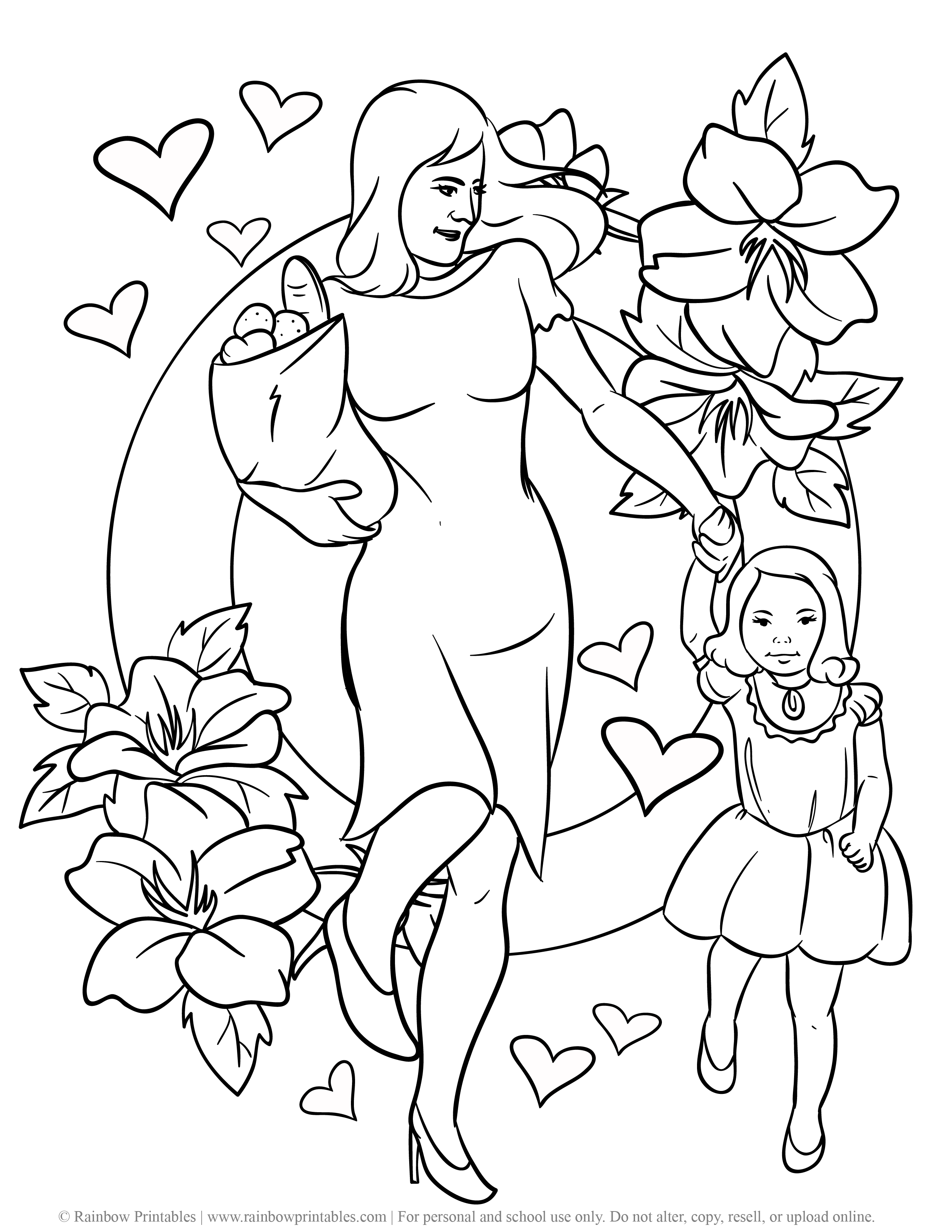 Free Coloring Pages for Kids Drawing Activities Line Art Illustration MOM SHOPPING HOLDING HANDS WITH BABY GIRL SHOPPING HAPPY MOTHERS DAy