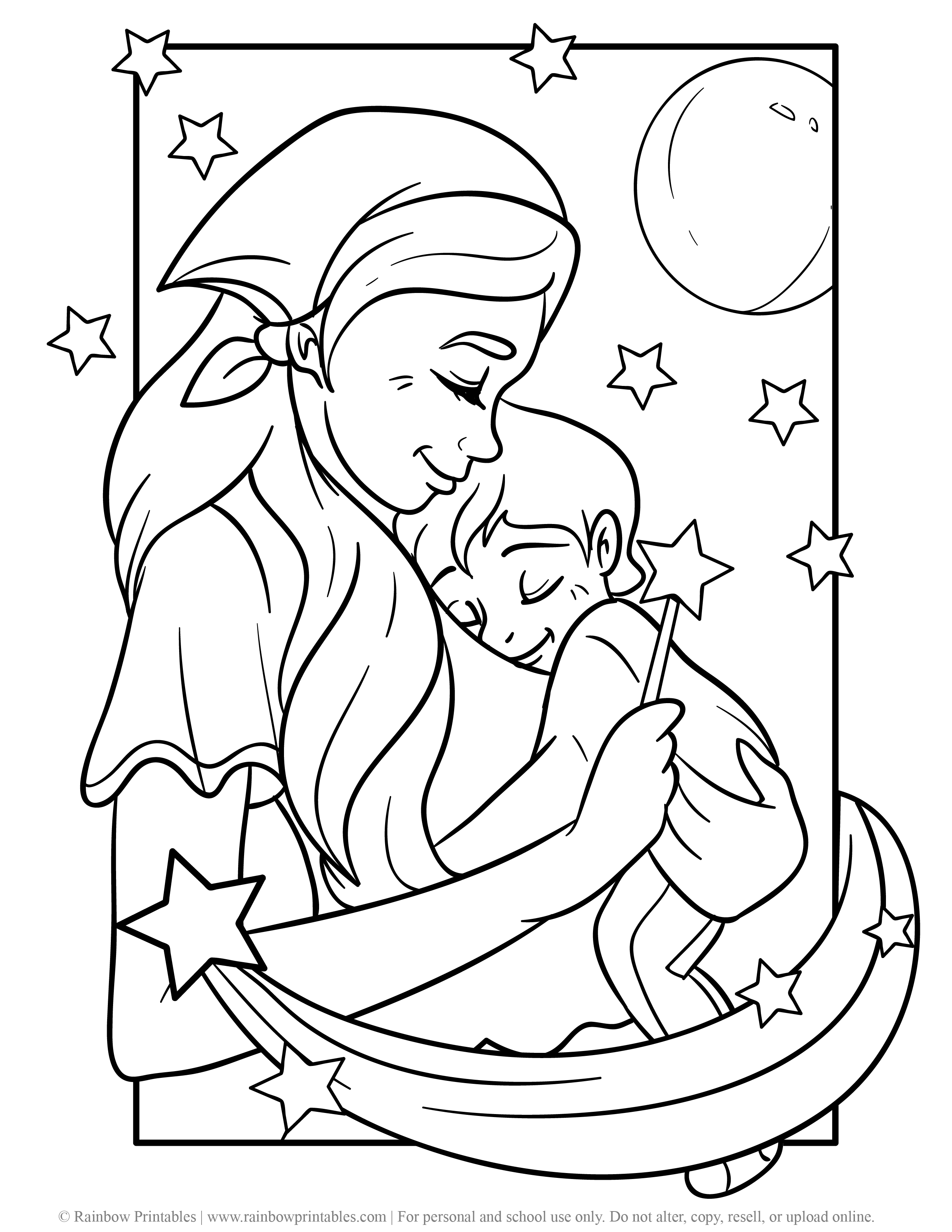 Free Coloring Pages for Kids Drawing Activities Line Art Illustration MOM WITH BABY GIRL BOY SLEEPING IN ARMS GOOD NIGHT SWEET