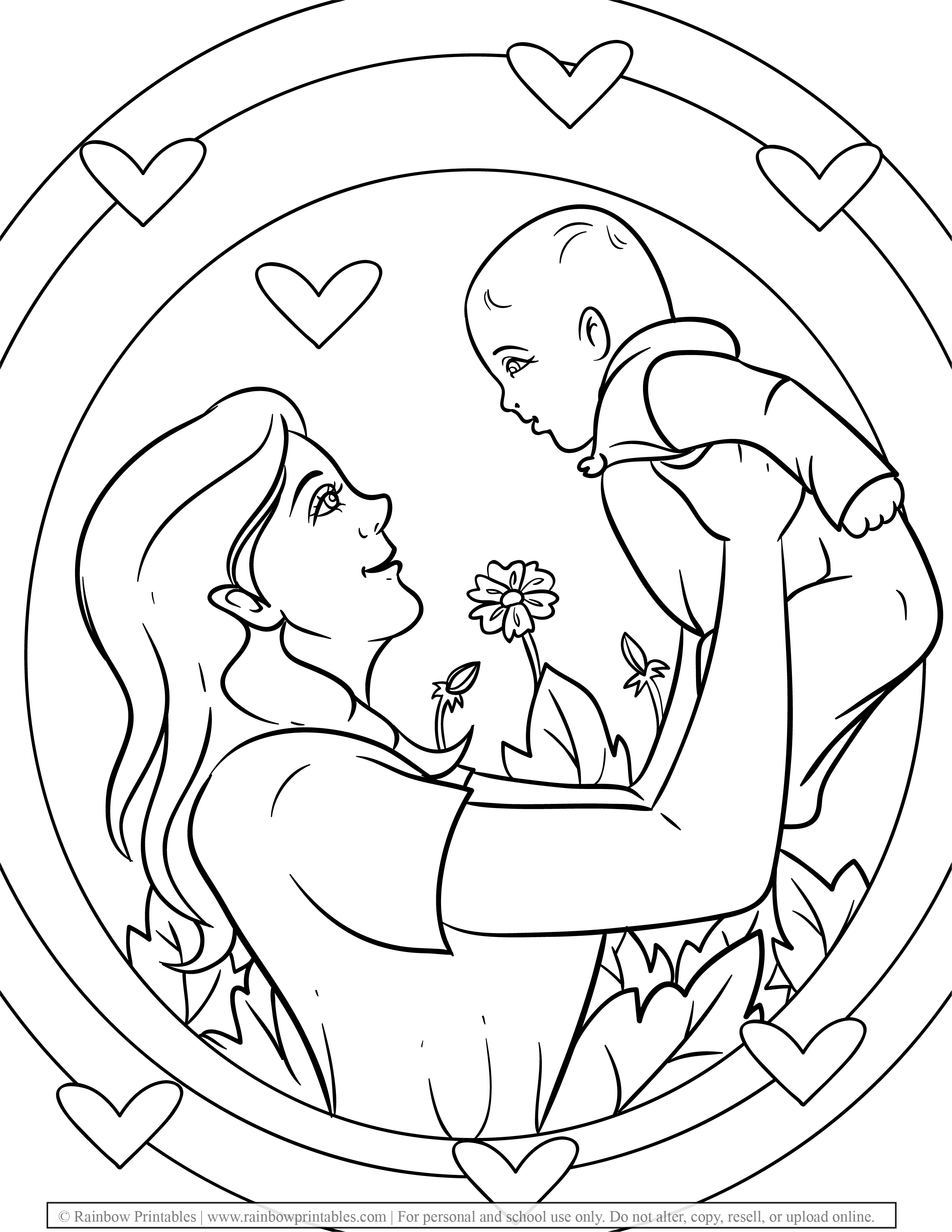 Free Coloring Pages for Kids Drawing Activities Line Art Illustration MOM and Infant Baby Love Flowers Happy MOTHER'S DAY