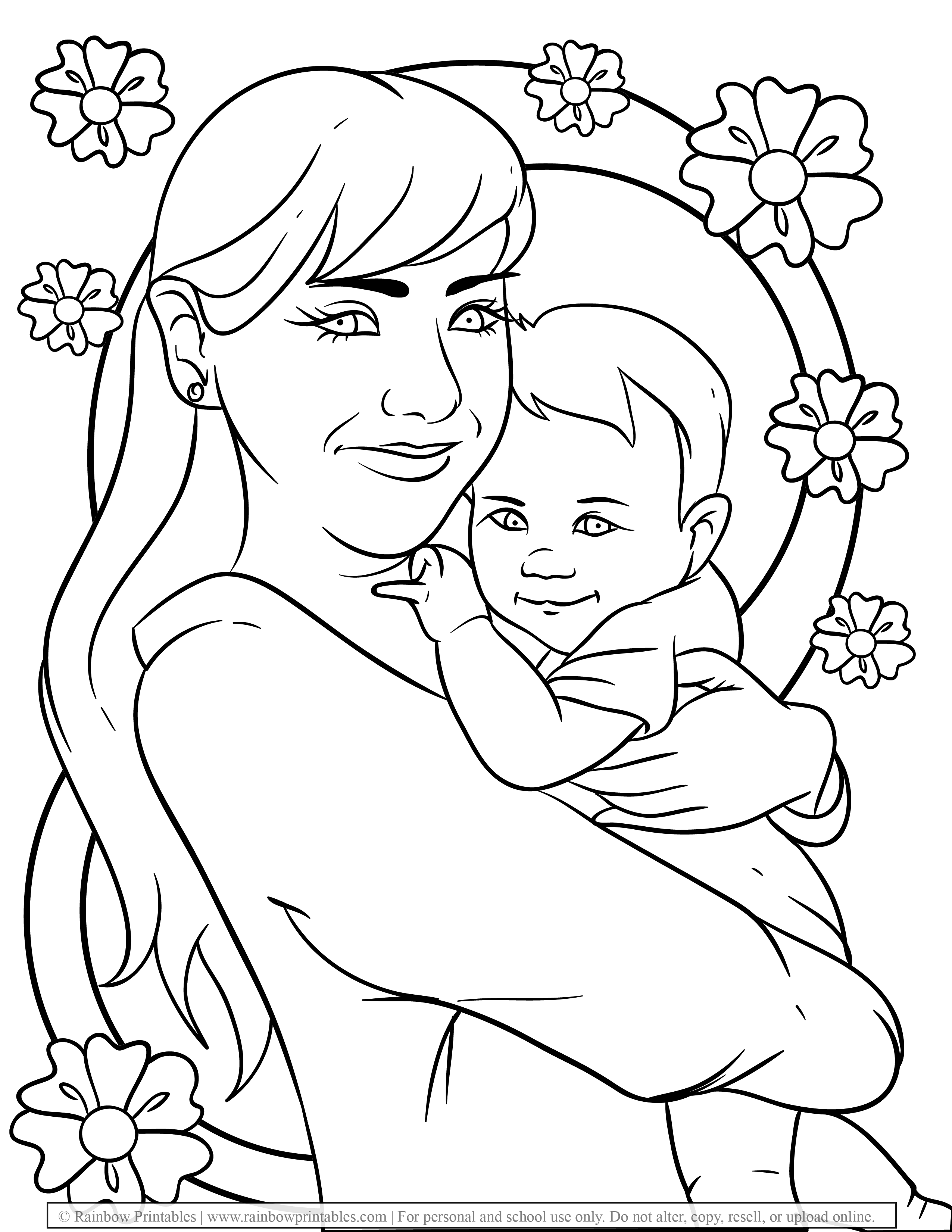 Free Coloring Pages for Kids Drawing Activities Line Art Illustration MOM and Toddler Child Baby Love Flowers Happy MOTHER'S DAY (2)