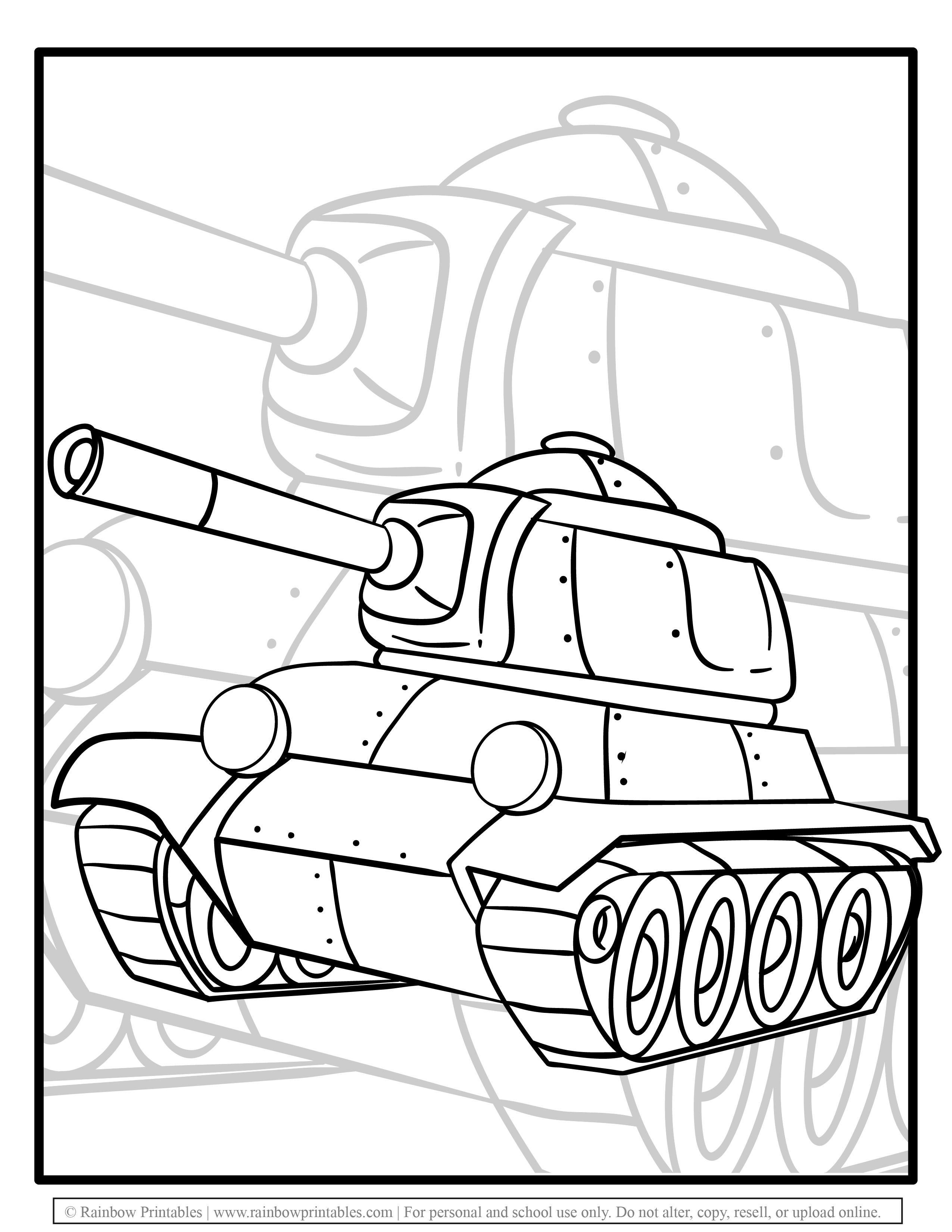 Free Coloring Pages for Kids Drawing Activities Line Art Illustration Military Grade TANK ARMY MACHINE