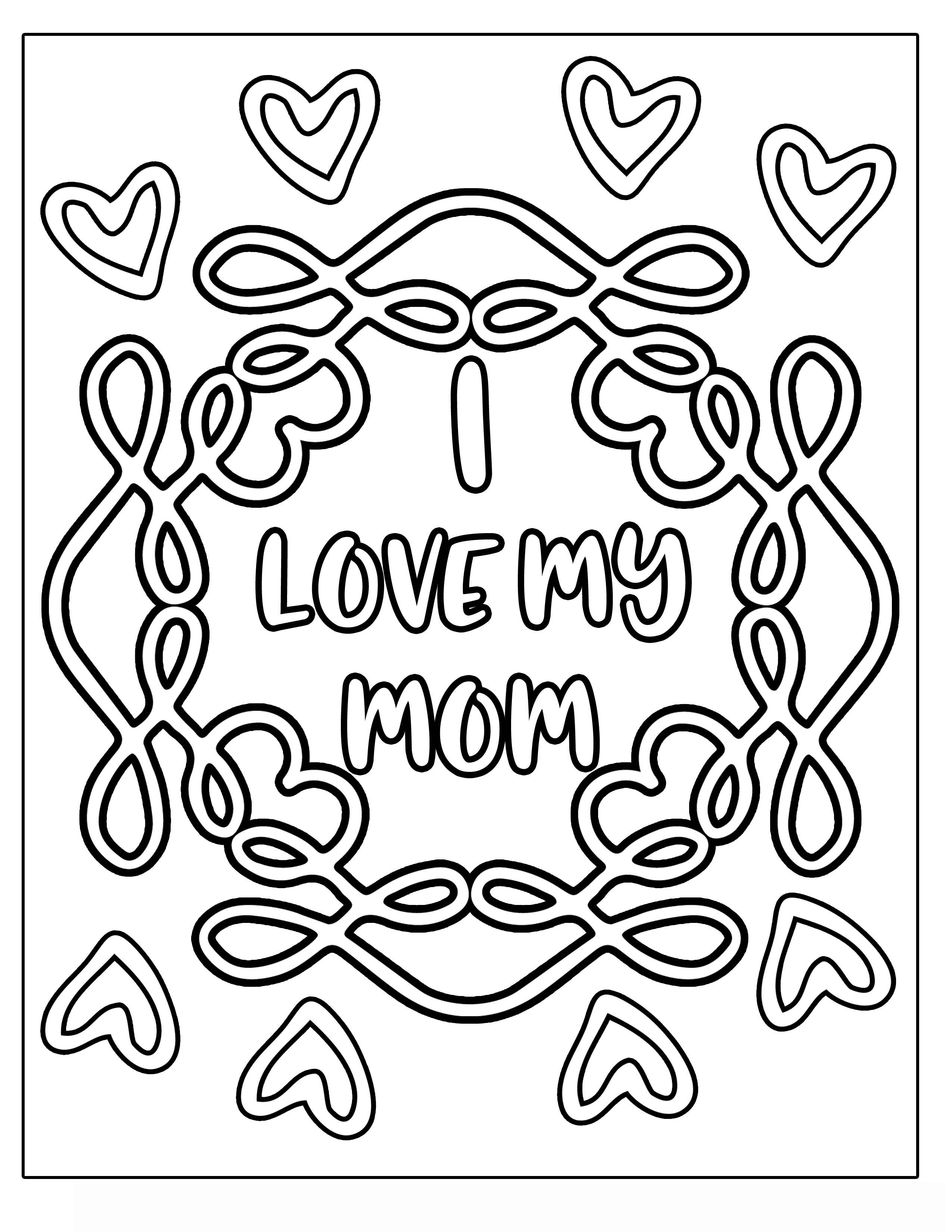 I LOVE MY MOM MOTHER'S DAY flower with vines and frills Clipart Coloring Pages for Kids Adults Art Activities Line Art