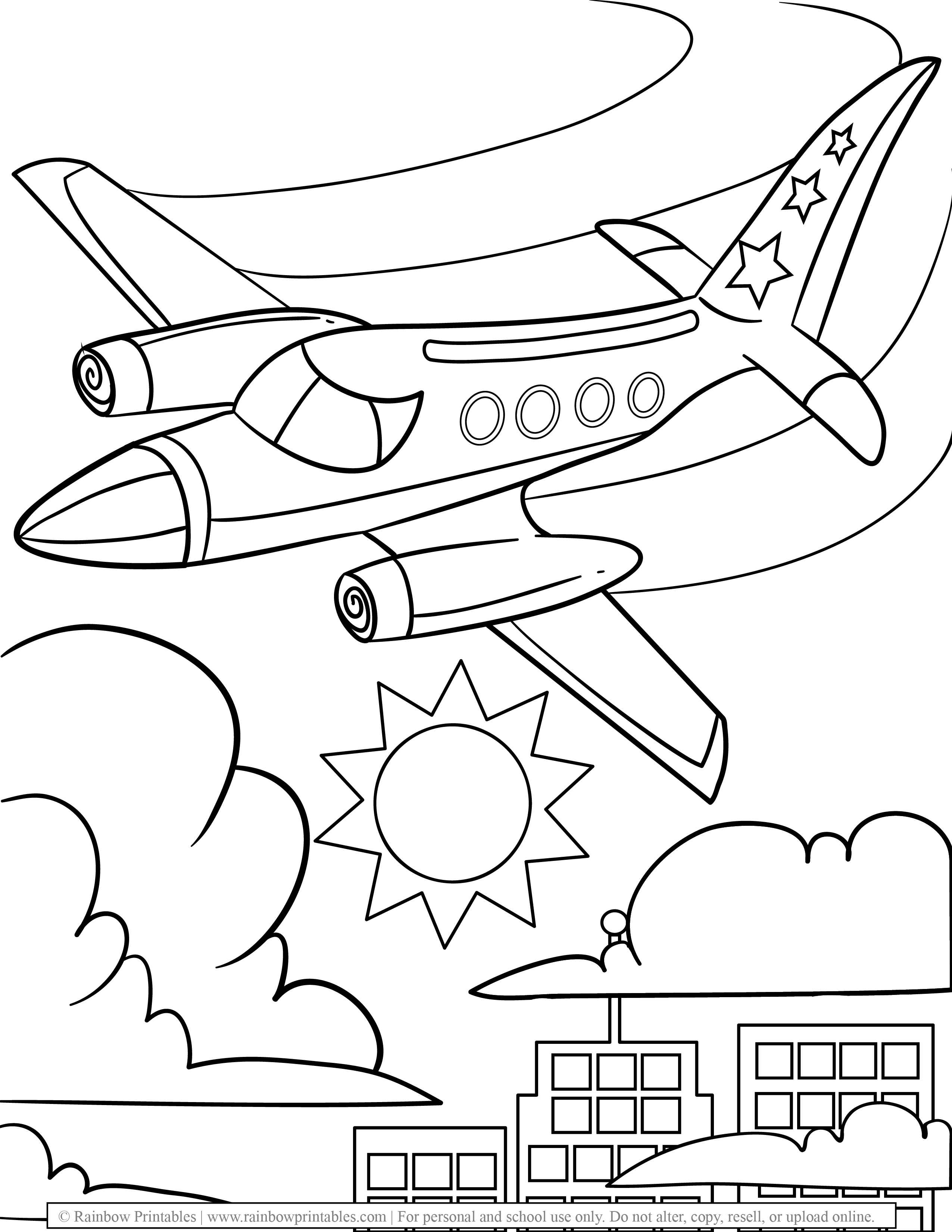 Military Airplane Jetplane Free Coloring Pages for Kids Drawing Activities Line Art Illustration