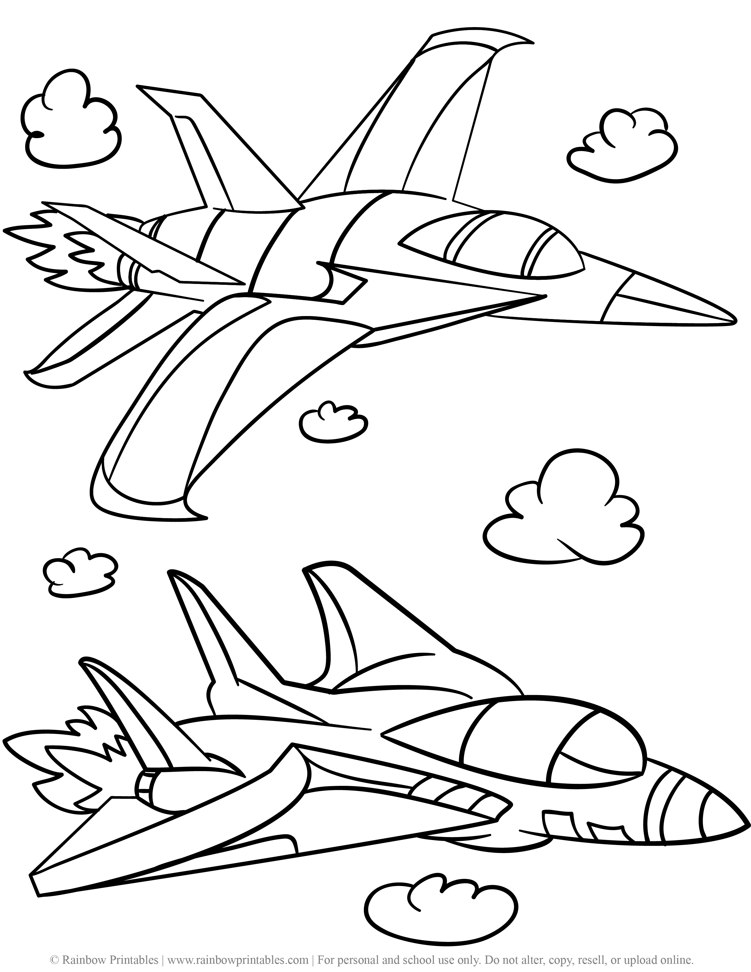 Military Bomber Jet Plane Stealth US Ship Free Coloring Pages for Kids Drawing Activities Line Art Illustration-03