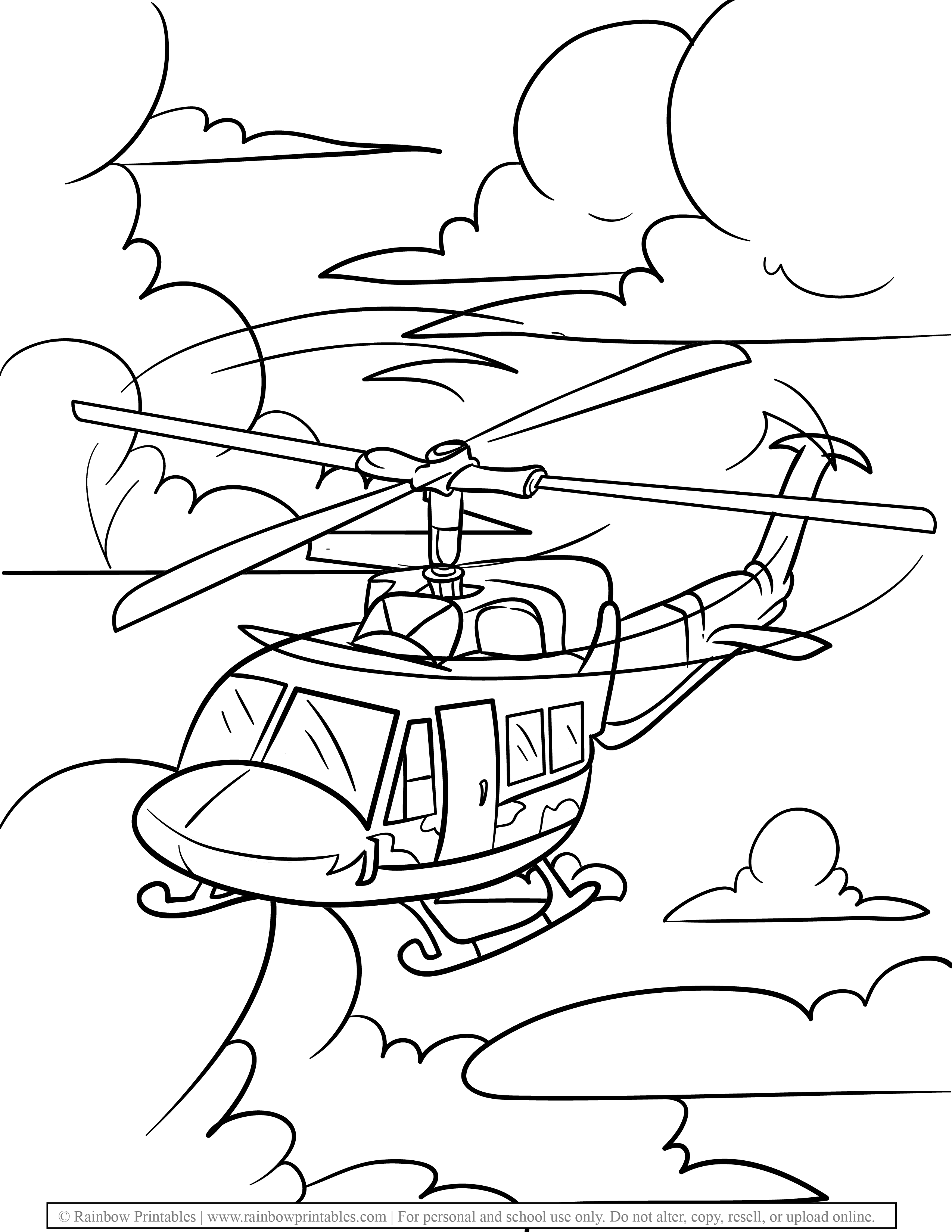 Military Helicopter in Skies Free Coloring Pages for Kids Drawing Activities Line Art Illustration-01
