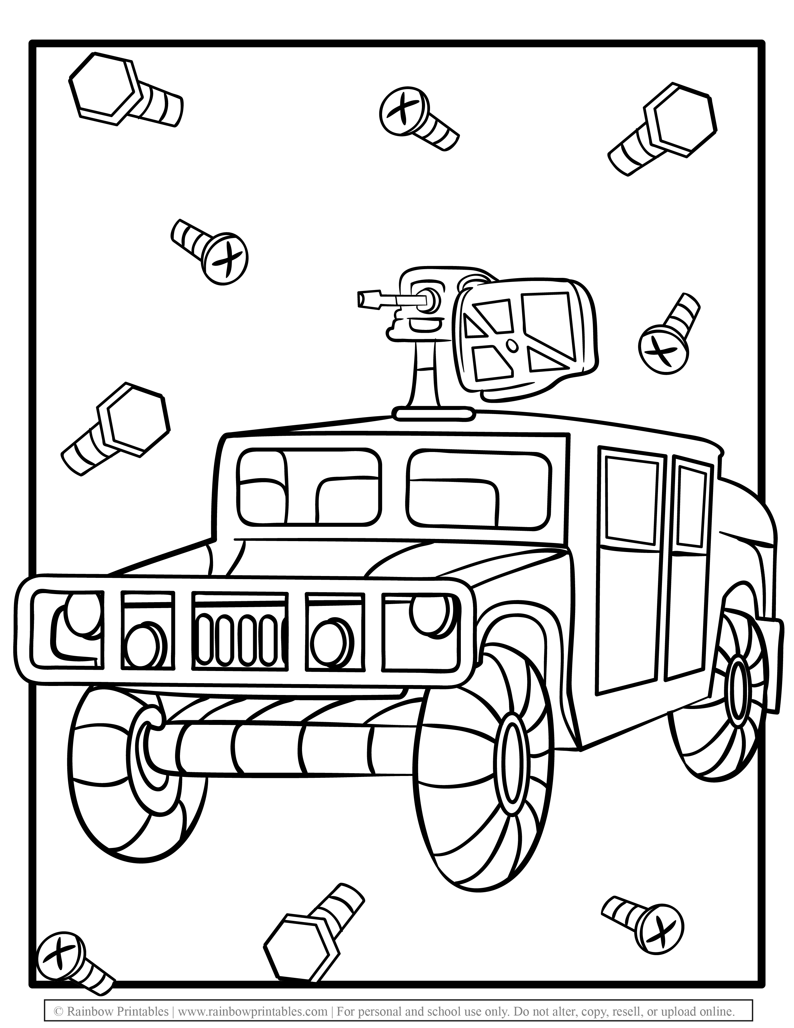 Military Hummer Tank Machine Car Gun Nuts Bolts Free Coloring Pages for Kids Drawing Activities Line Art Illustration