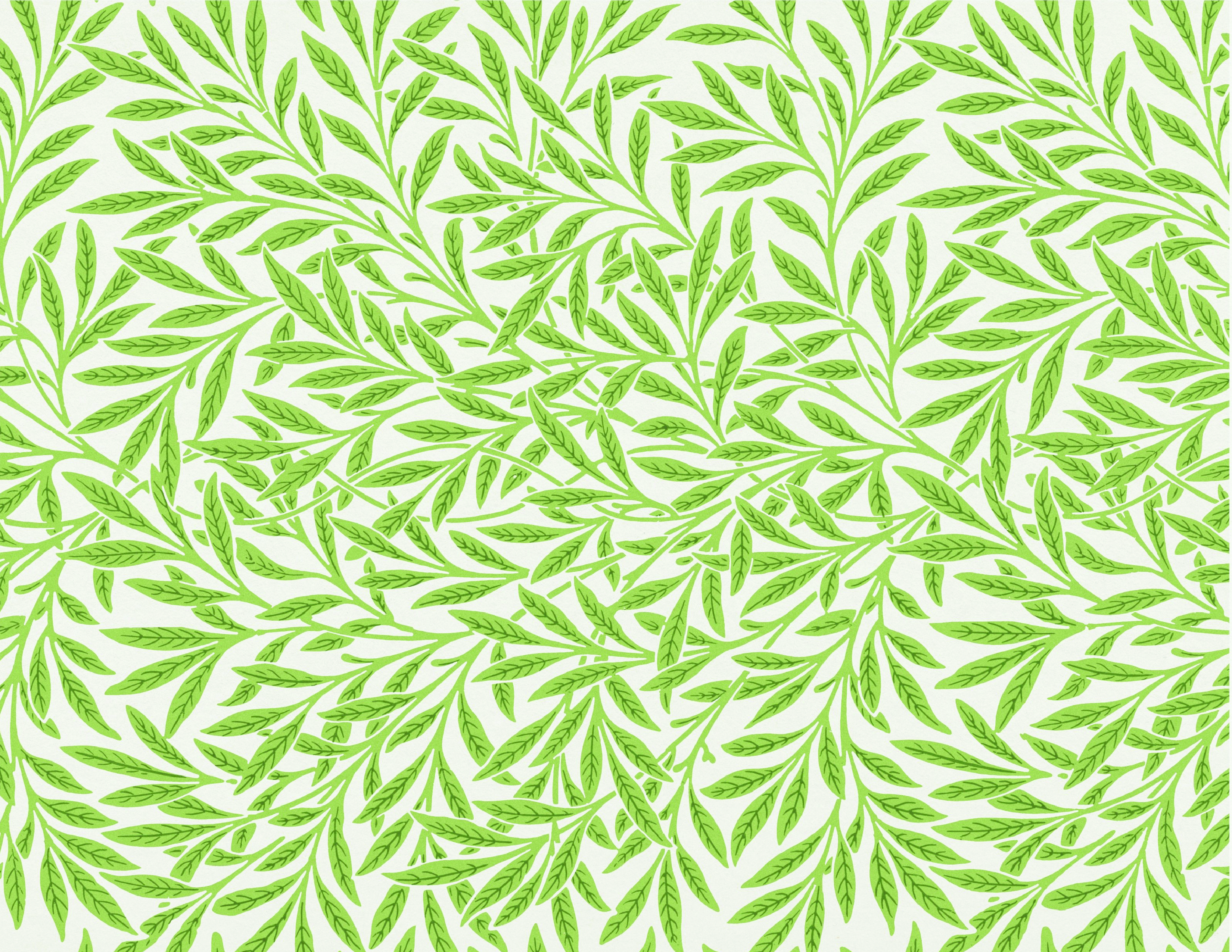 Willow Green Leaf Pattern 1850s Grand Vintage Vines Miniature Dollhouse Wallpaper Printable