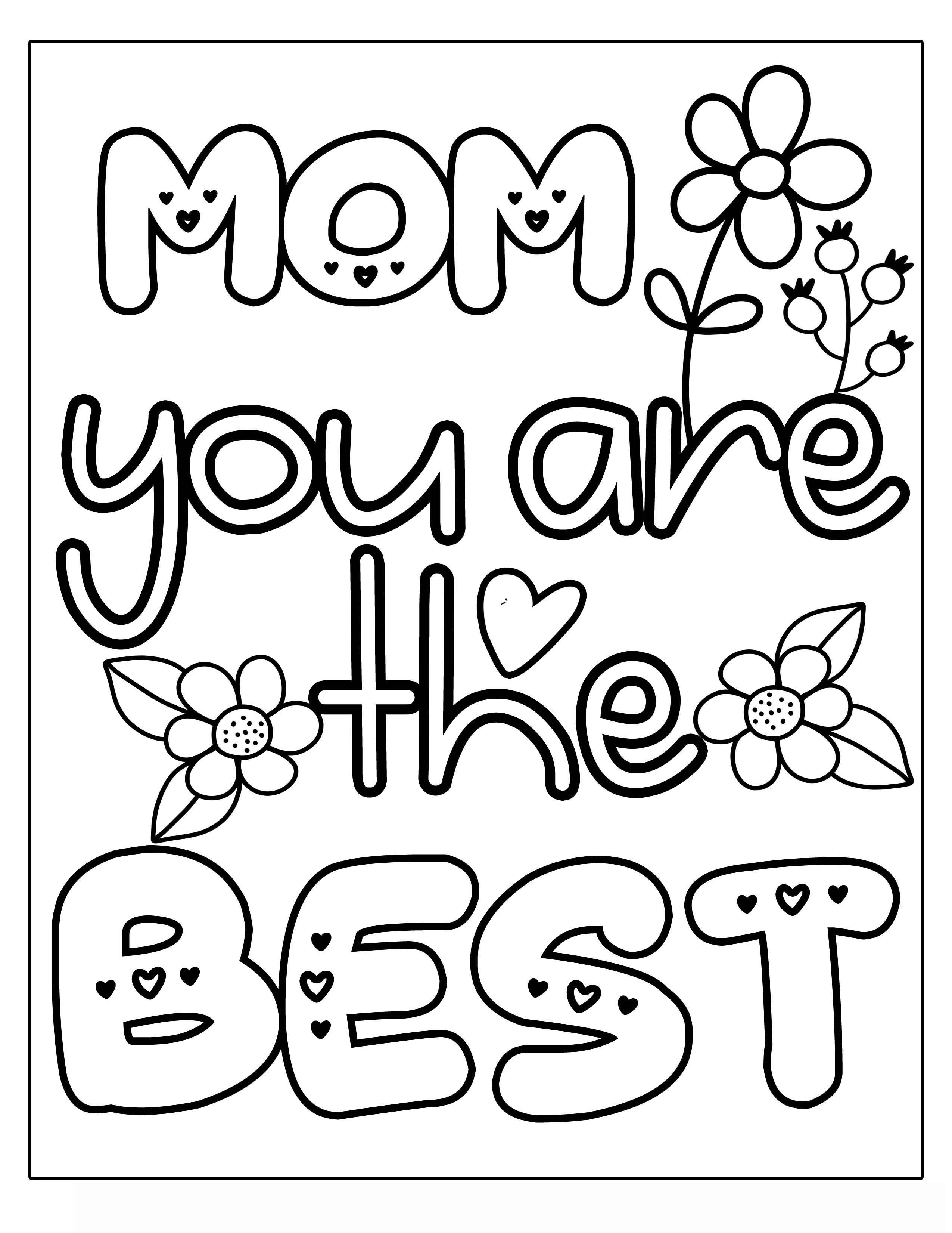 YOU ARE THE BEST MOM MOTHER'S DAY flower with vines and frills Clipart Coloring Pages for Kids Adults Art Activities Line Art